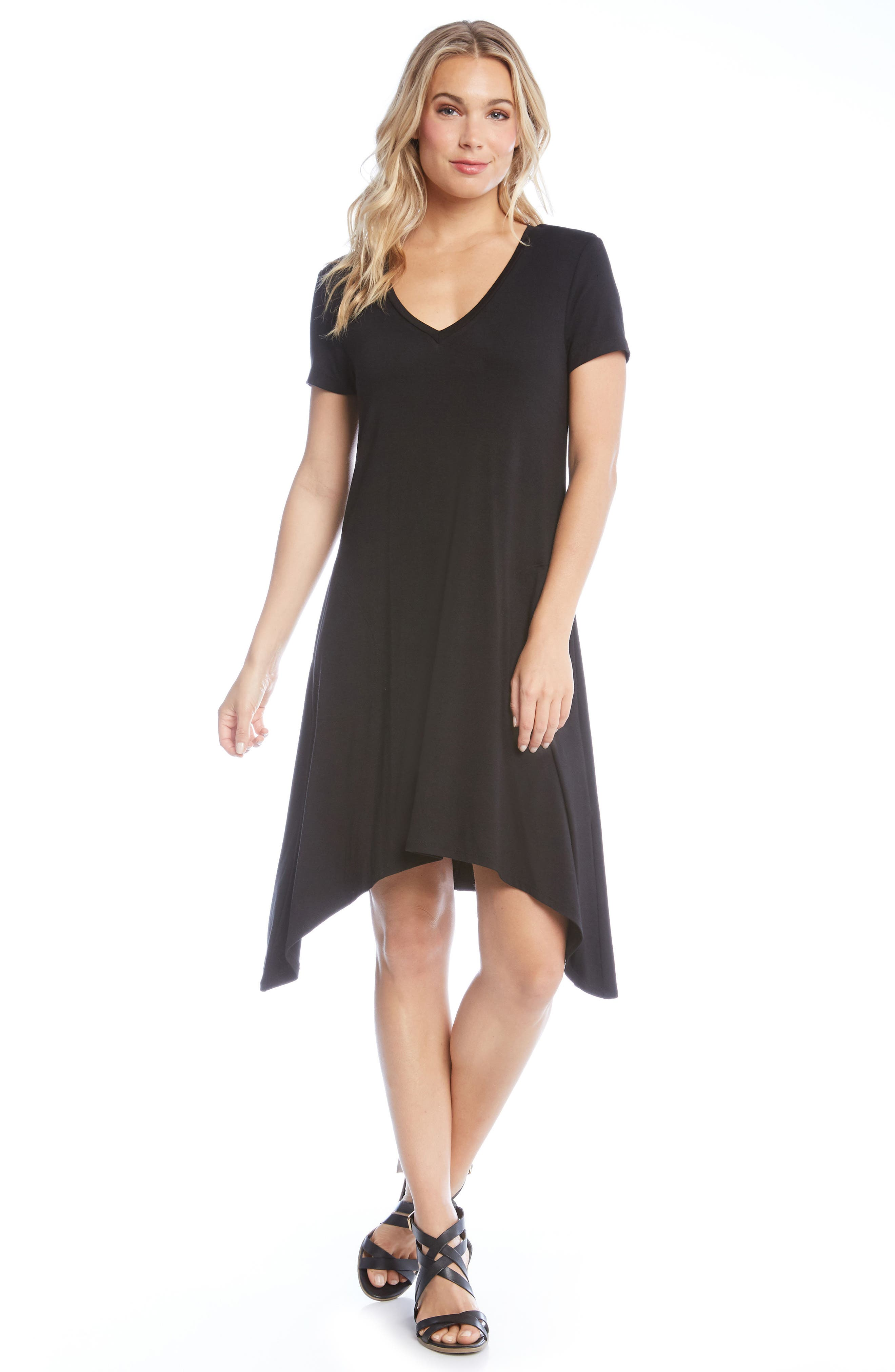 Hailey High/Low Dress,                             Alternate thumbnail 3, color,                             BLACK