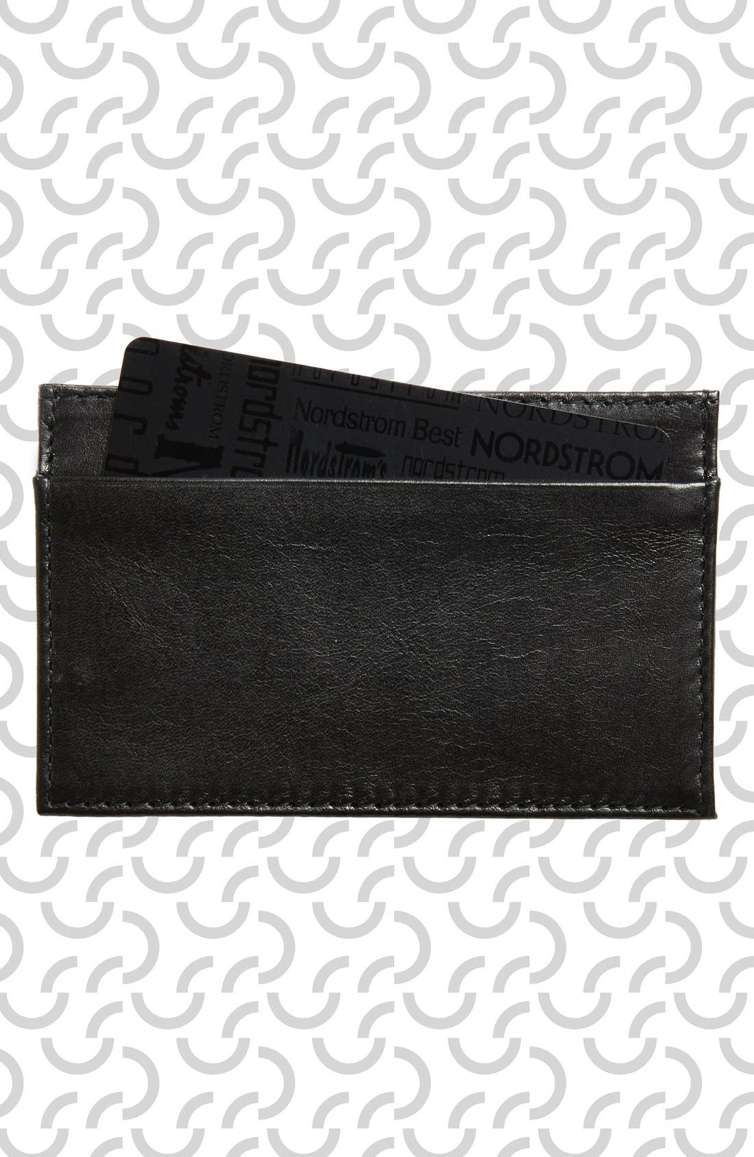 CLARE V. Mike's Leather Card Case, Main, color, 001