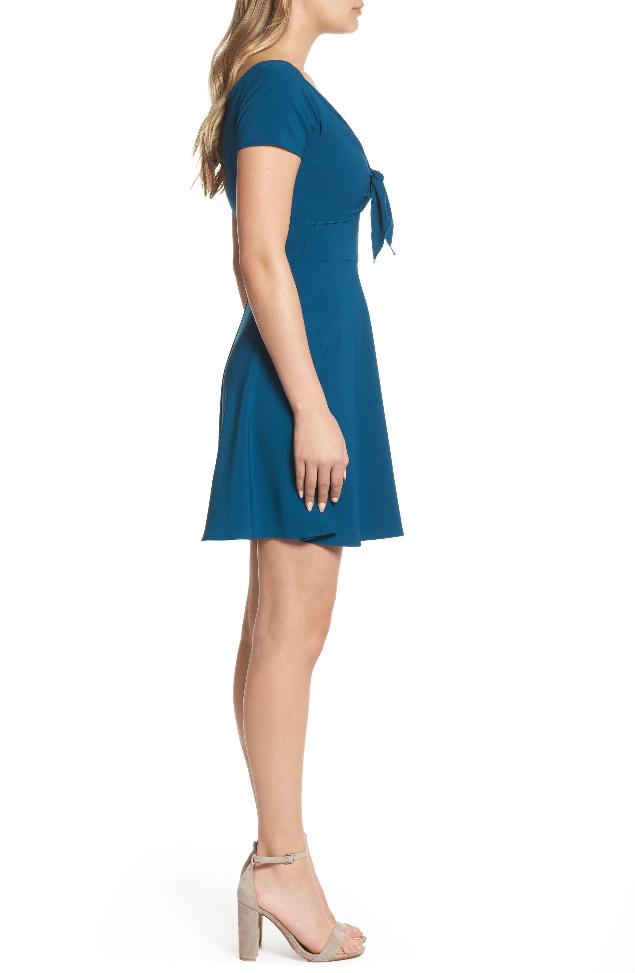 Tie Front Crepe Fit & Flare Dress,                             Alternate thumbnail 6, color,