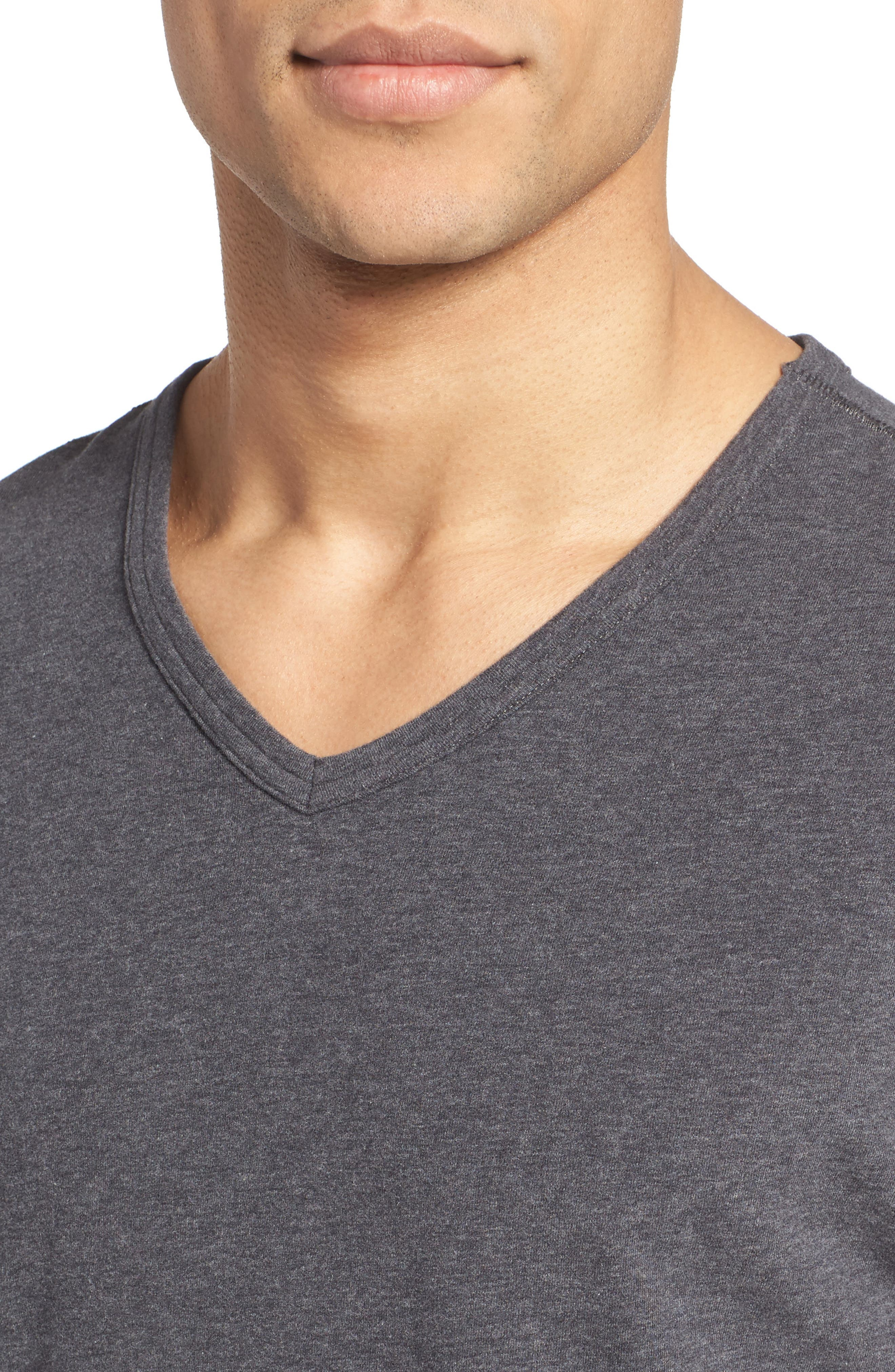 Stretch Cotton V-Neck T-Shirt,                             Alternate thumbnail 4, color,                             020