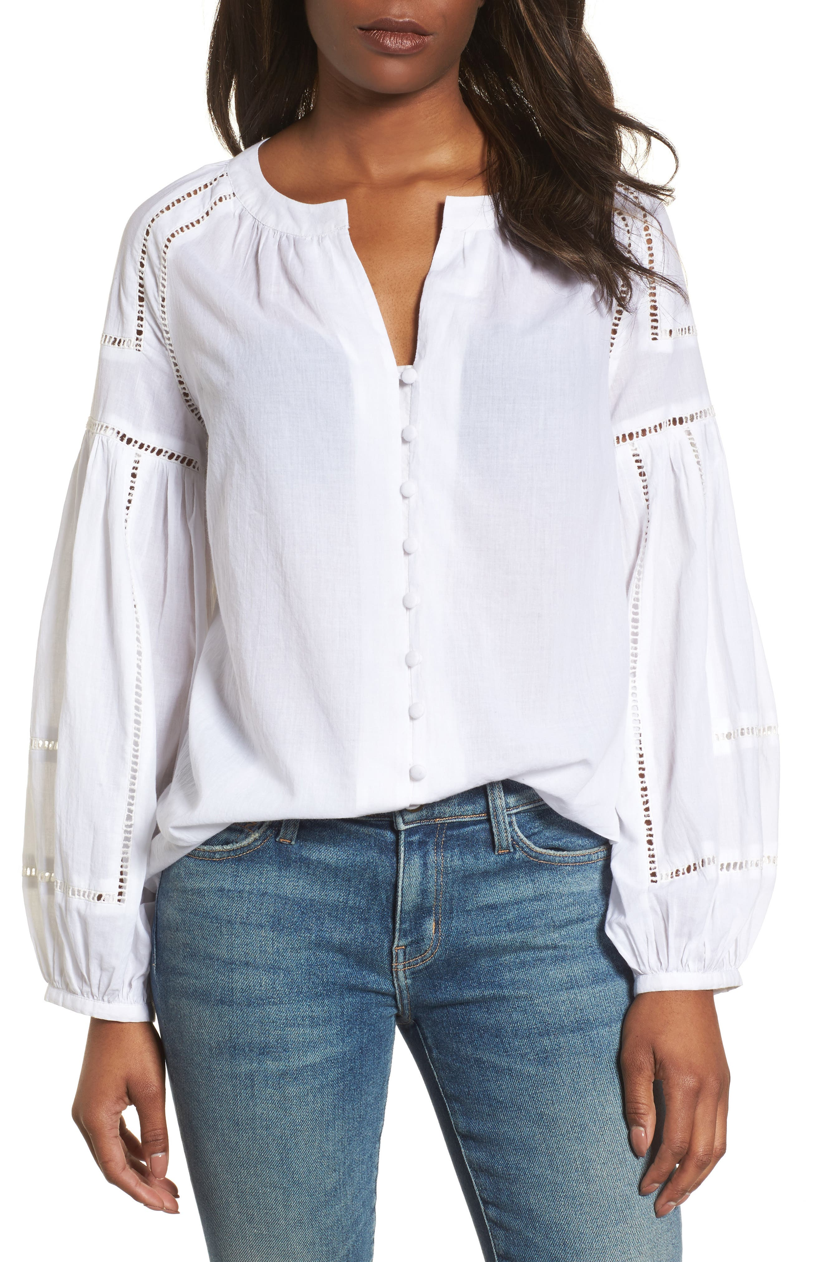 Embroidered Peasant Sleeve Top,                             Main thumbnail 1, color,                             100