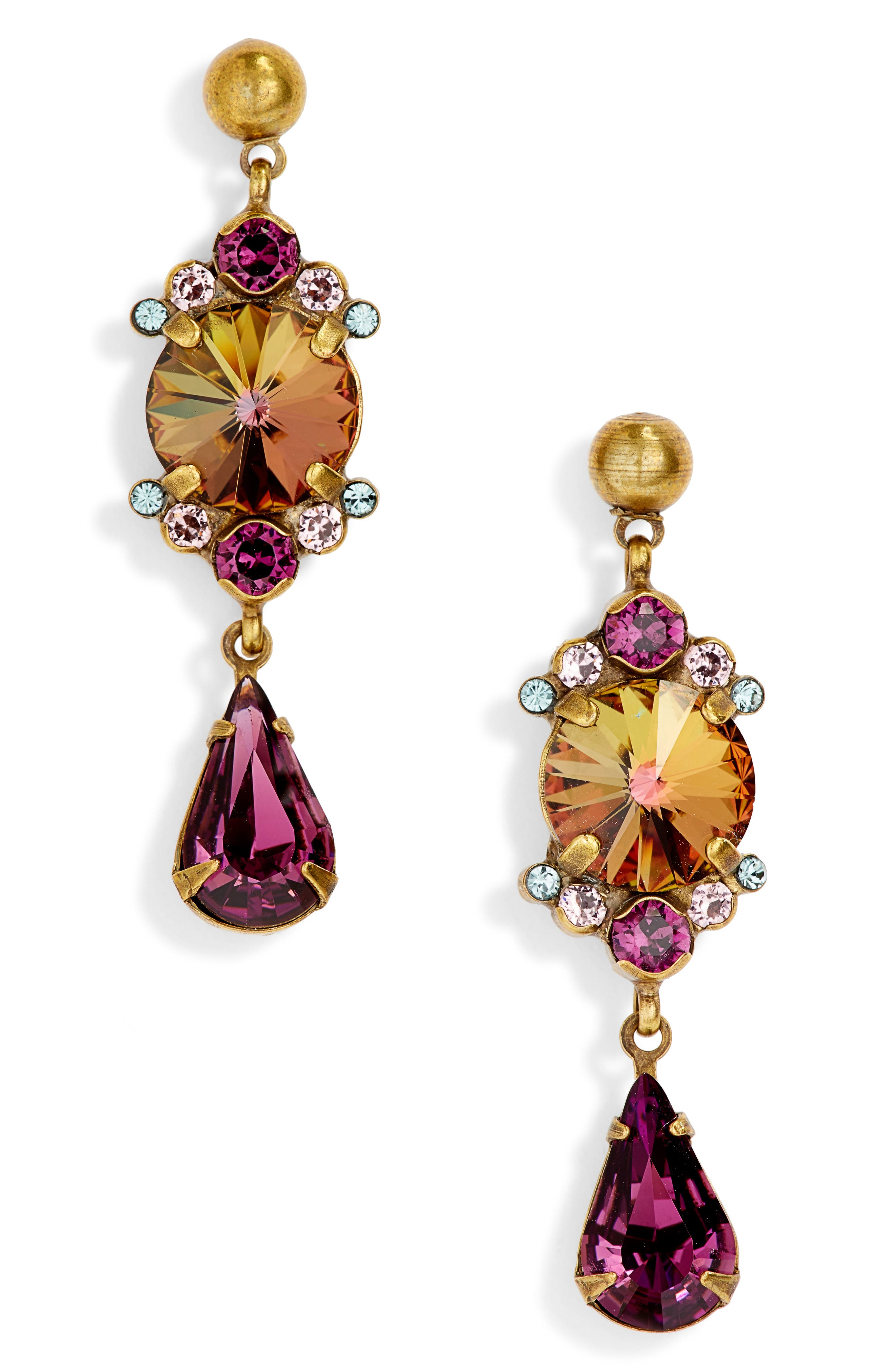 SORRELLI Regal Rounds Crystal Drop Earrings in Purple Multi