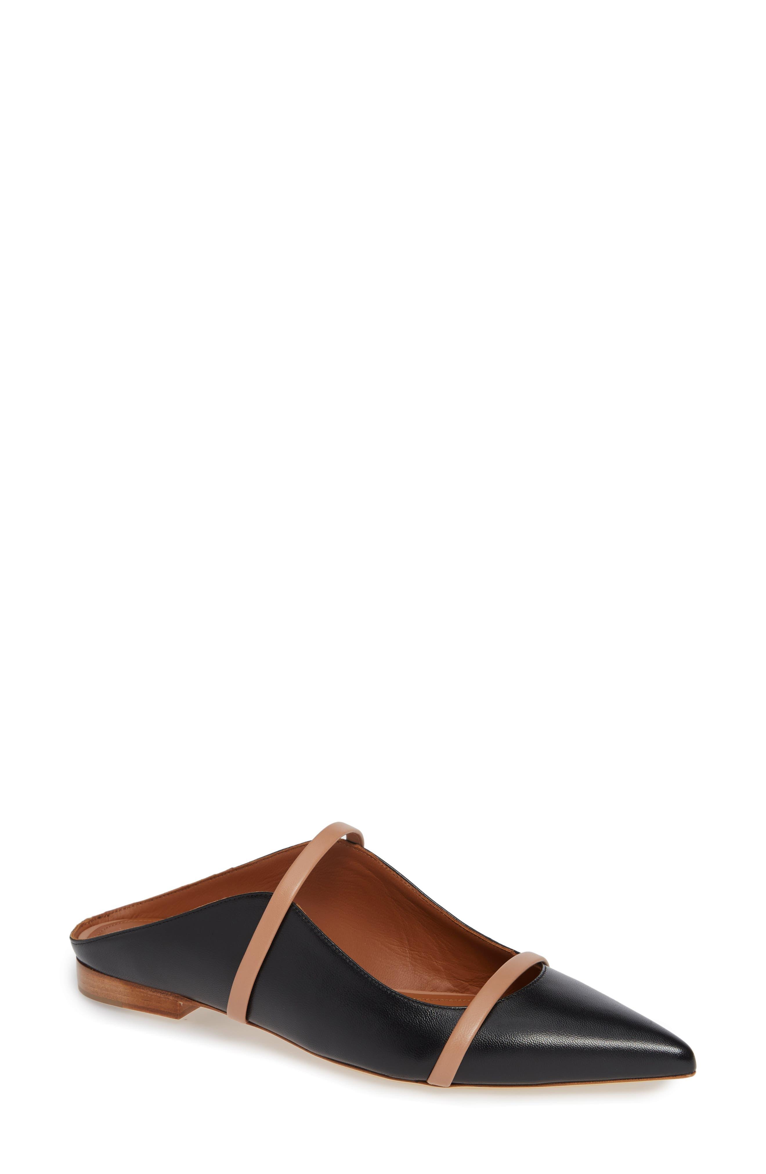 Maureen Pointy Toe Flat, Main, color, BLACK/ NUDE