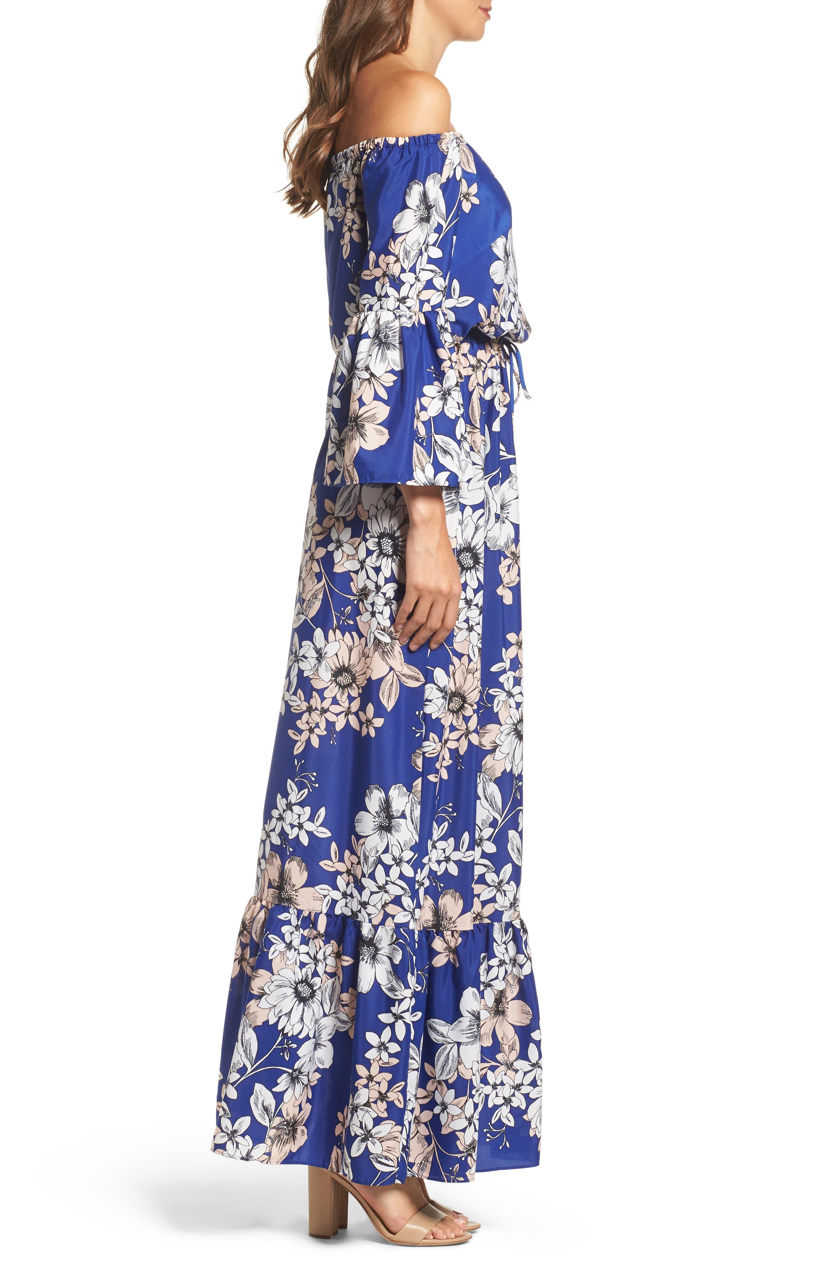 Off the Shoulder Floral Maxi Dress,                             Alternate thumbnail 3, color,                             COBALT