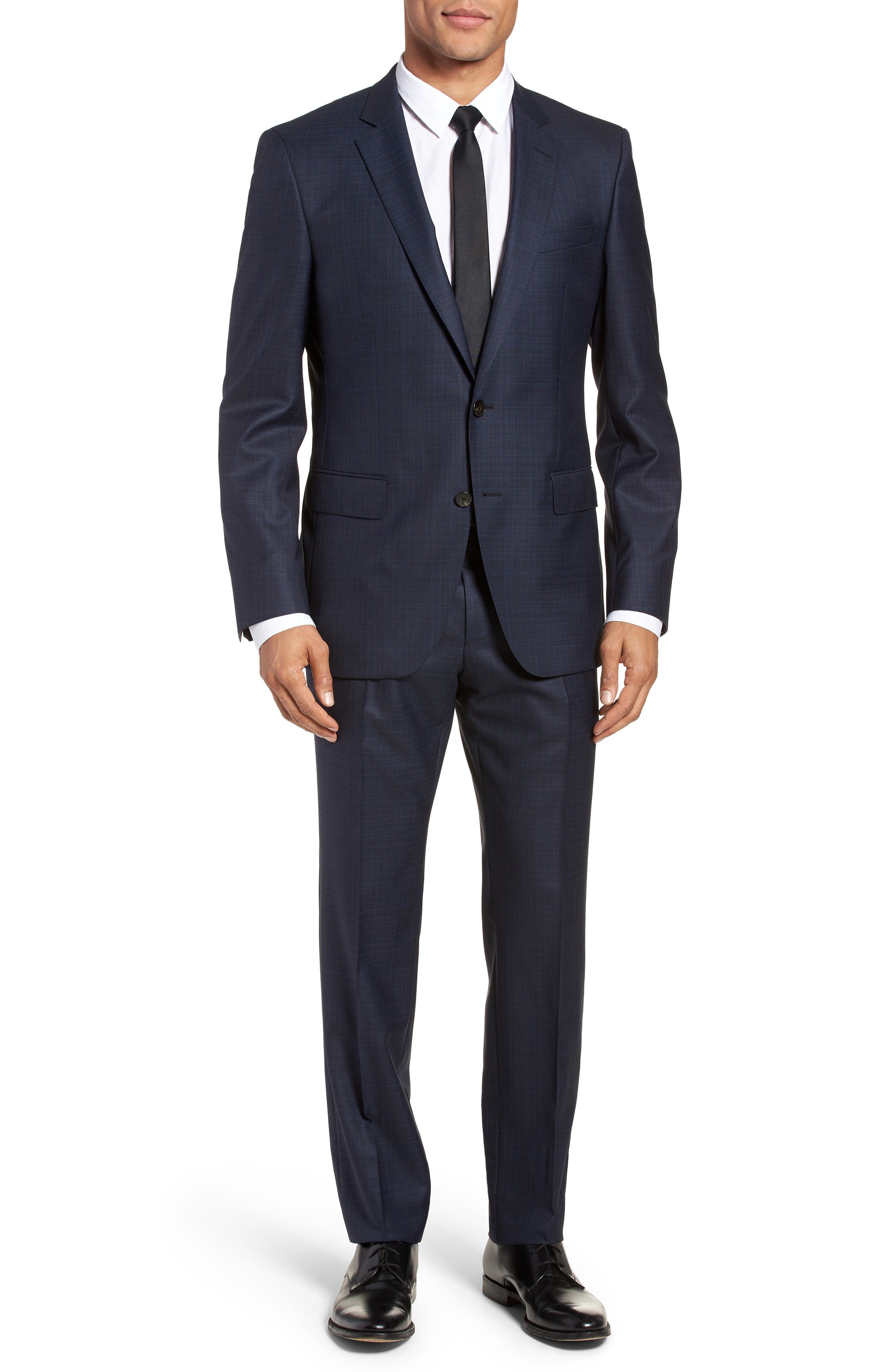 Huge/Genius Trim Fit Plaid Wool Blend Suit,                         Main,                         color, 400