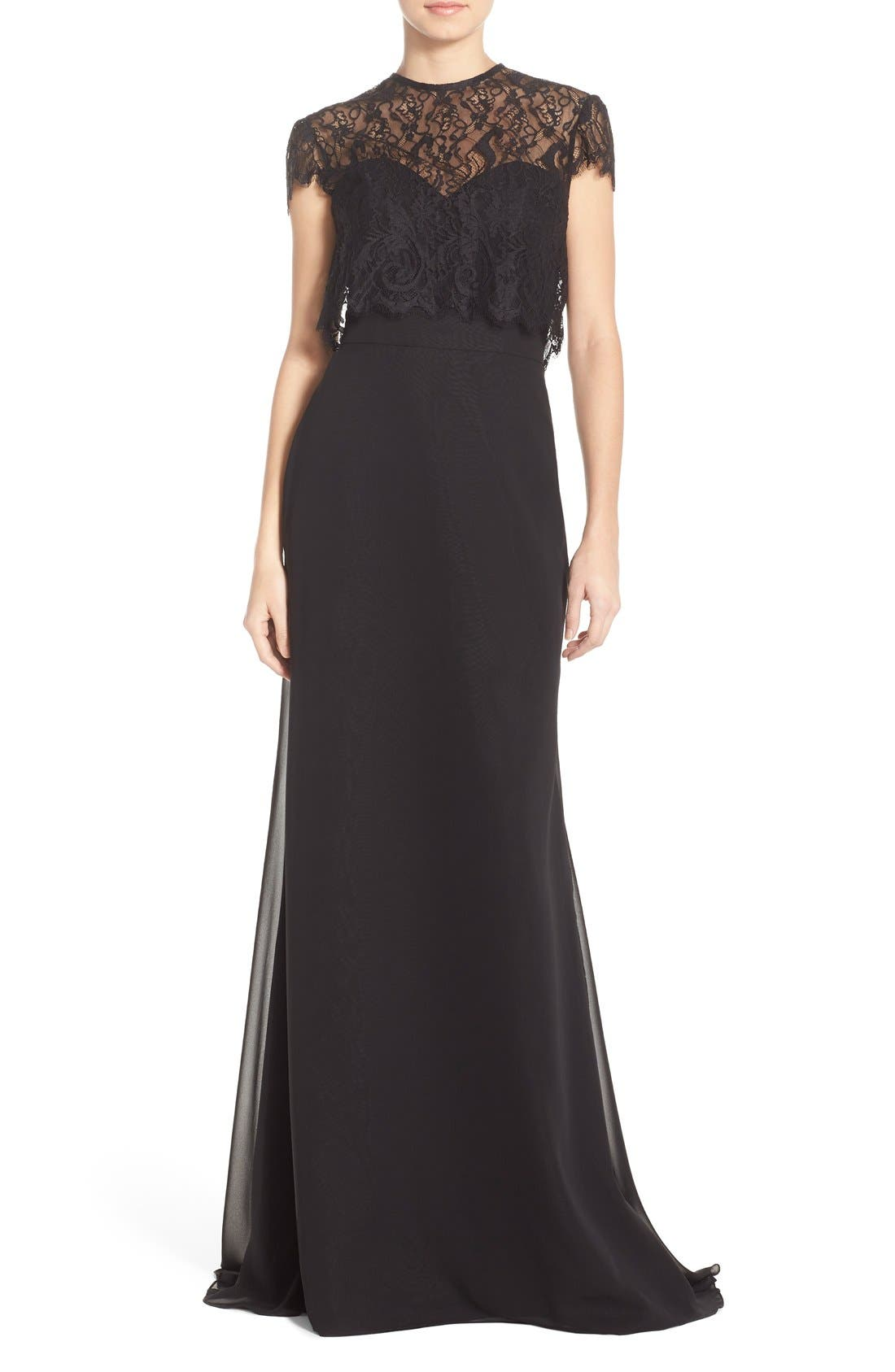Strapless Chiffon A-Line Gown with Removable Lace Overlay,                             Main thumbnail 1, color,                             001