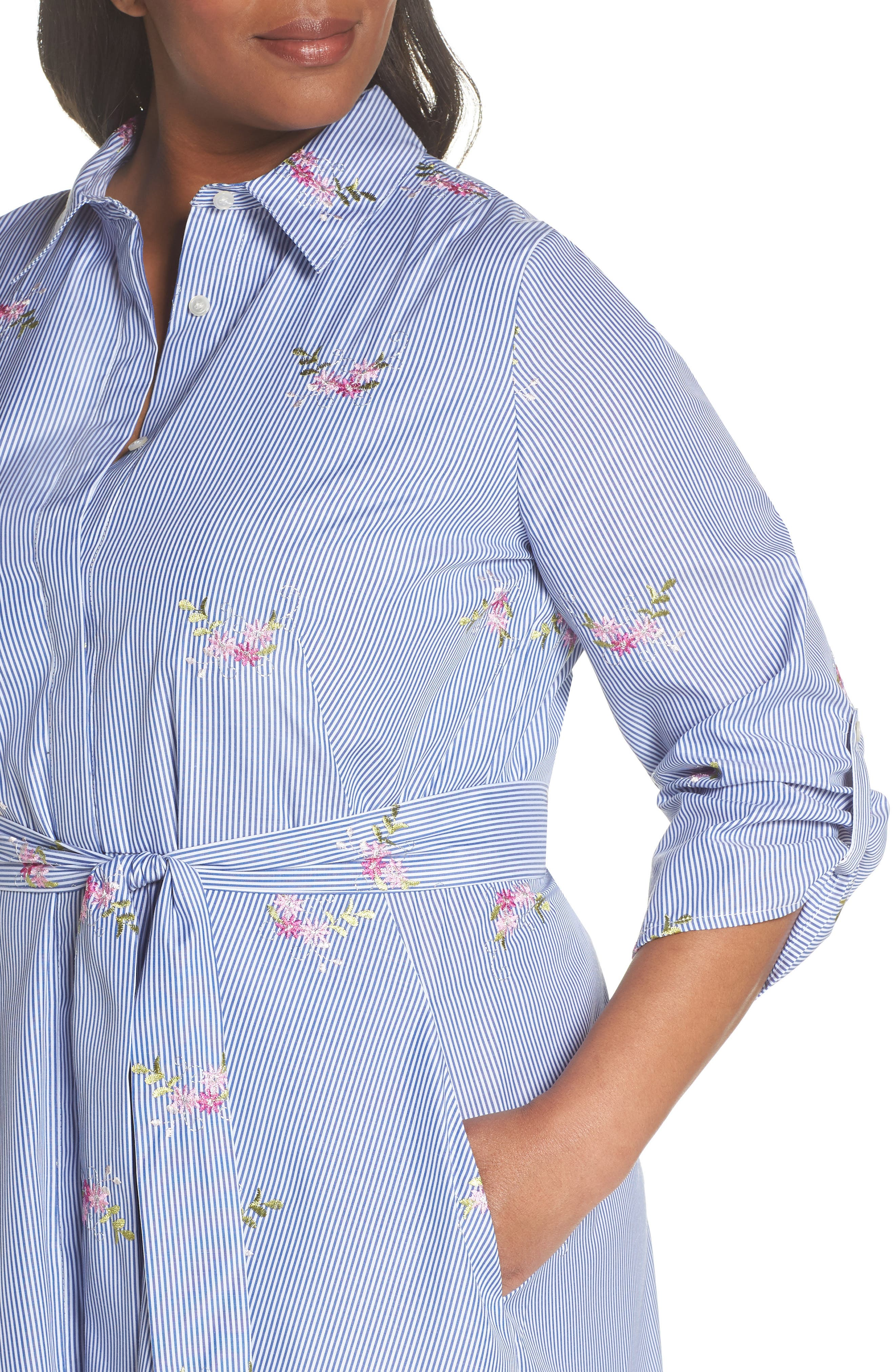 Embroidered Stripe Shirtdress,                             Alternate thumbnail 4, color,                             NAVY/ WHITE/ PINK