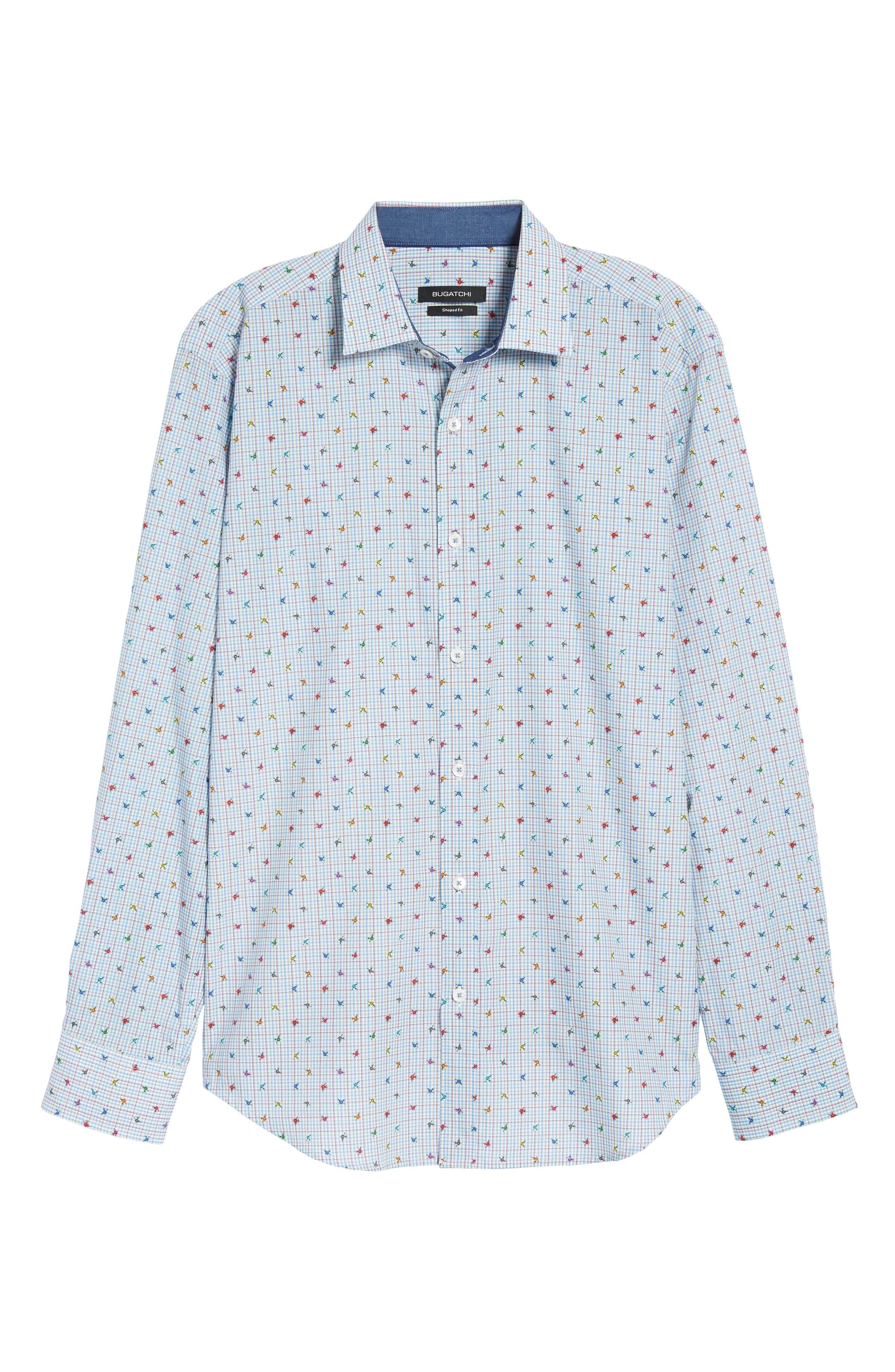 Shaped Fit Floral Check Sport Shirt,                             Alternate thumbnail 6, color,