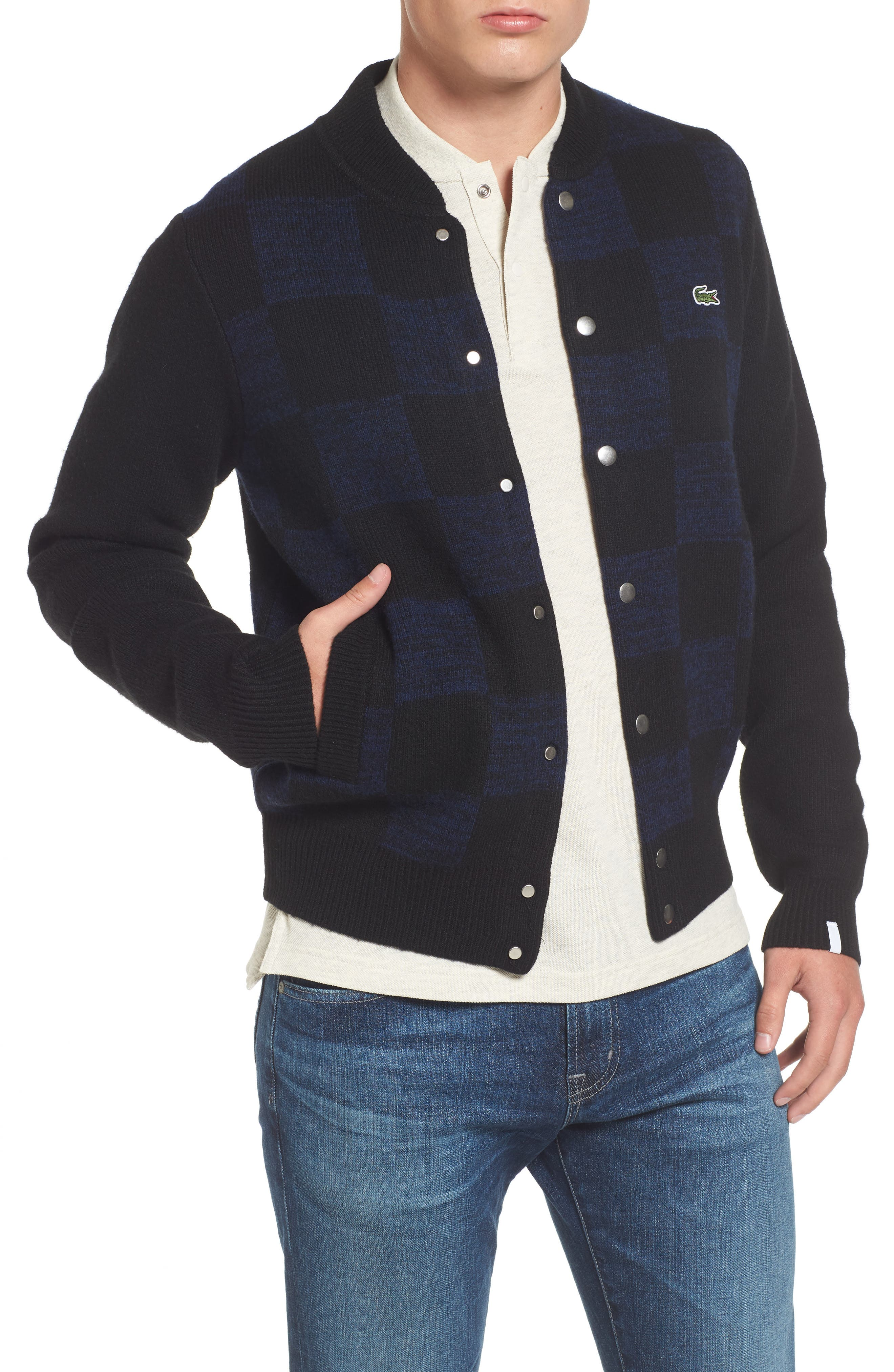 Double Face Check Sweater Jacket,                         Main,                         color, 006