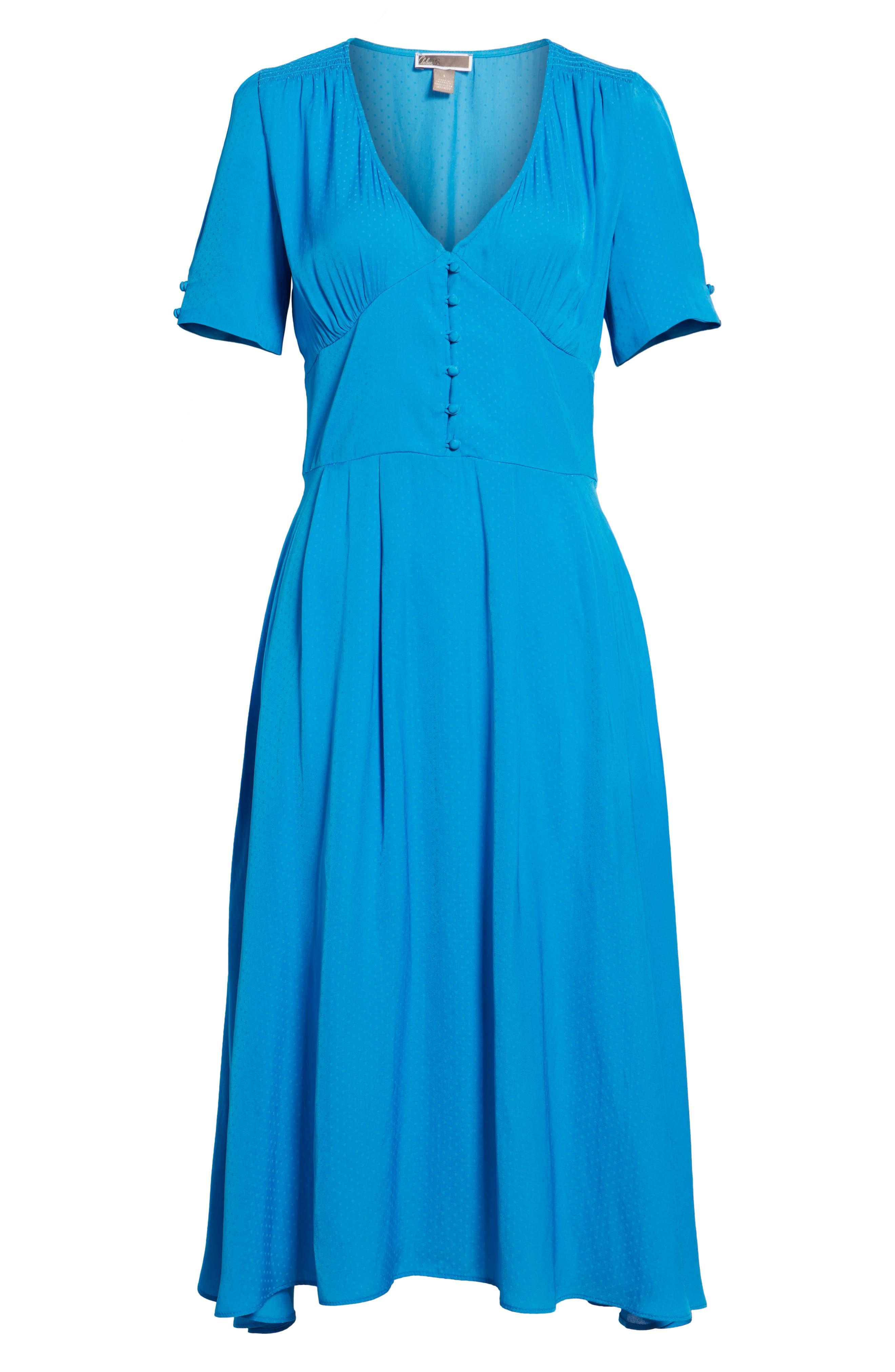 Textured Fit & Flare Midi Dress,                             Alternate thumbnail 6, color,                             420