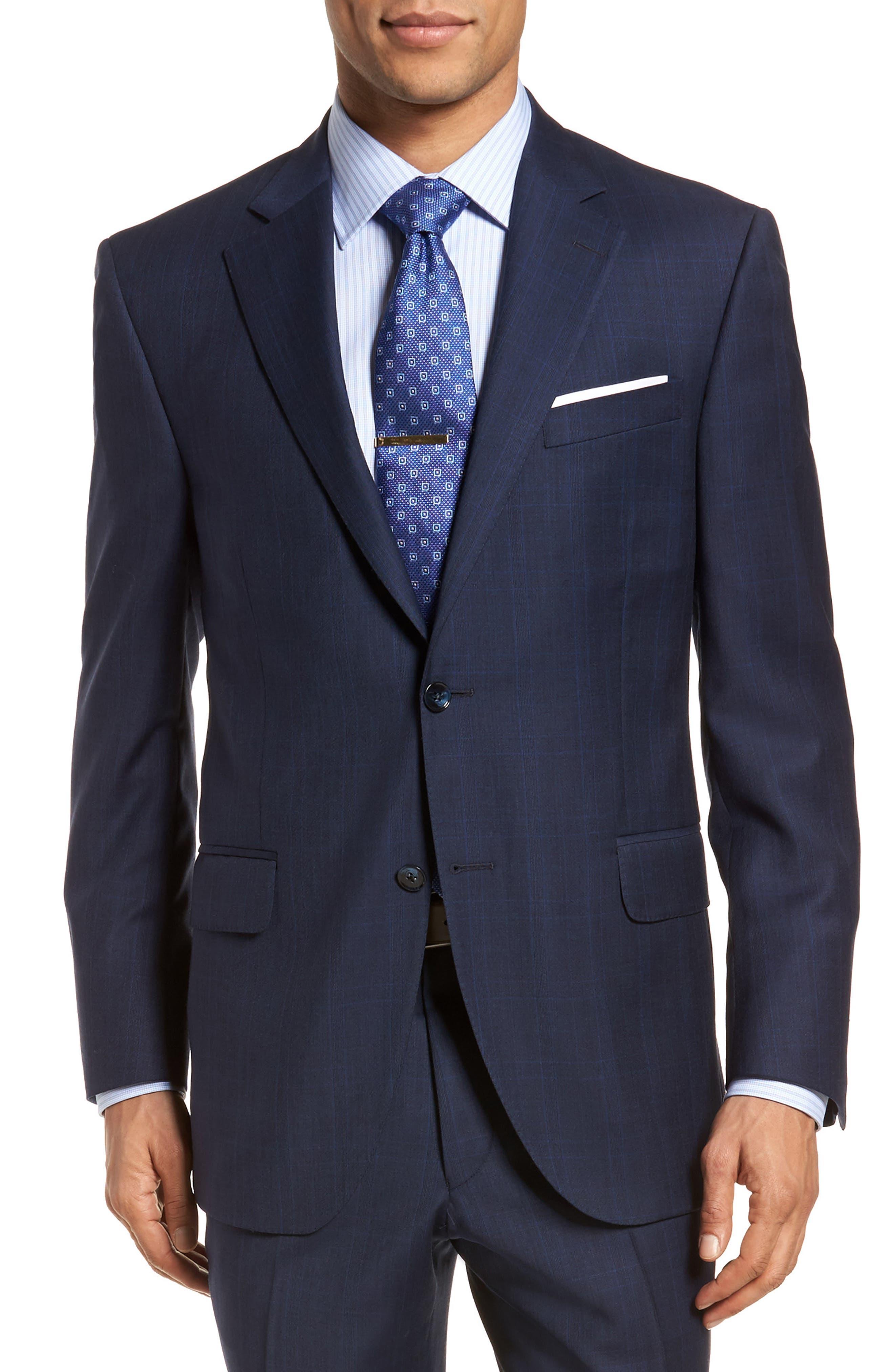 Classic Fit Plaid Wool Suit,                             Alternate thumbnail 5, color,                             410