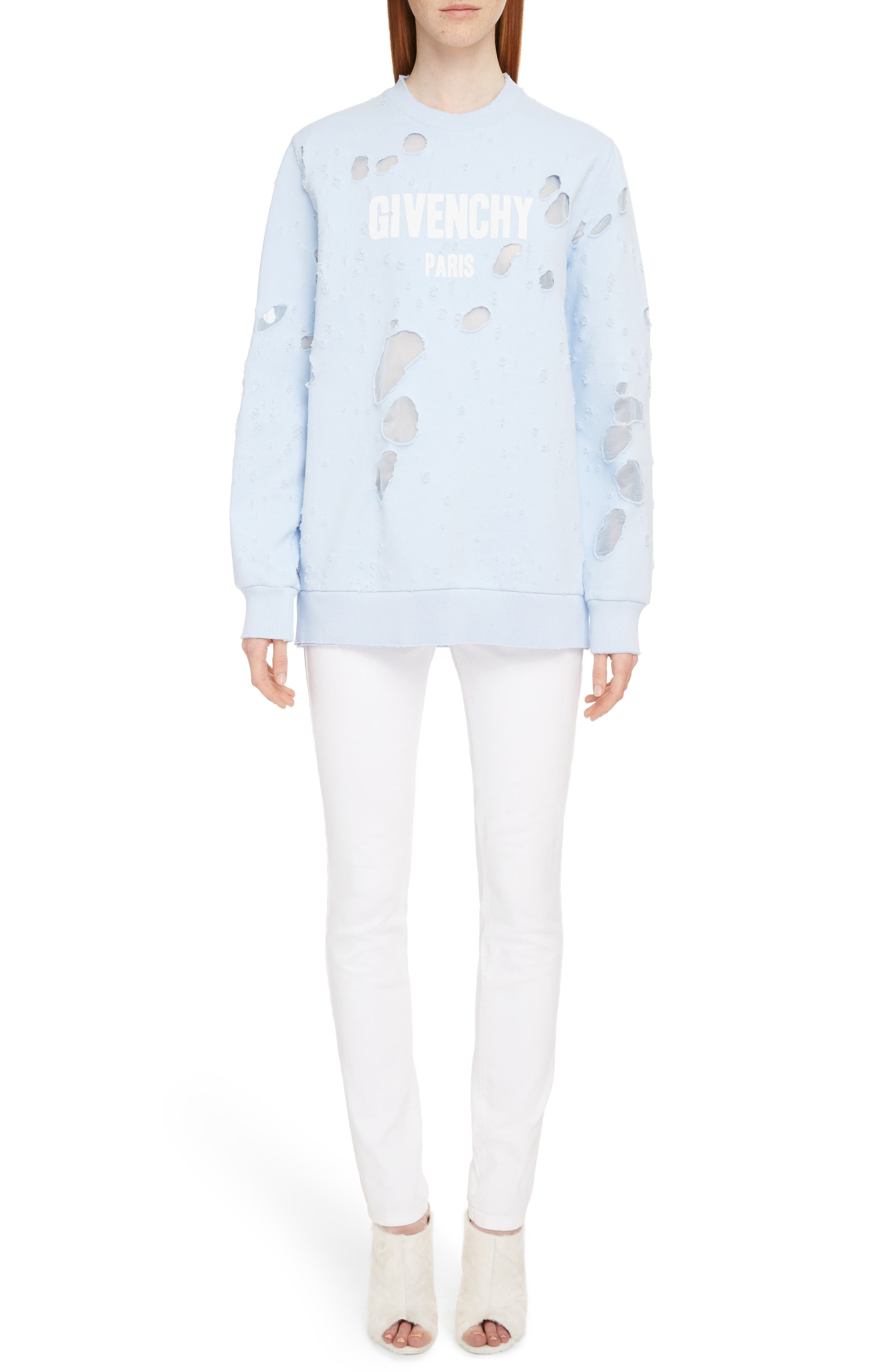 Destroyed Logo Sweater,                             Alternate thumbnail 6, color,                             BABY BLUE
