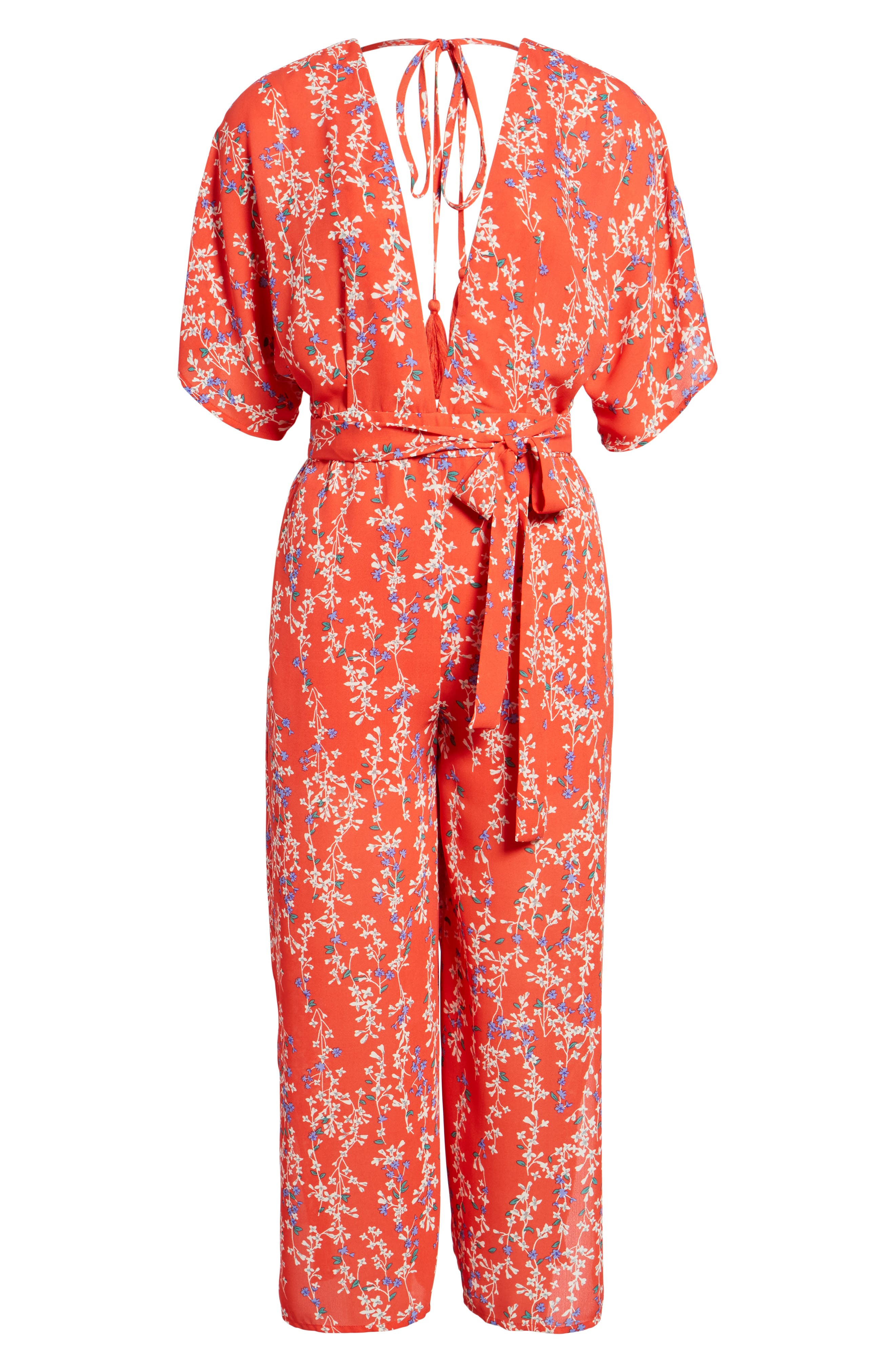 Floral Open Back Jumpsuit,                             Alternate thumbnail 6, color,                             RED MULTI