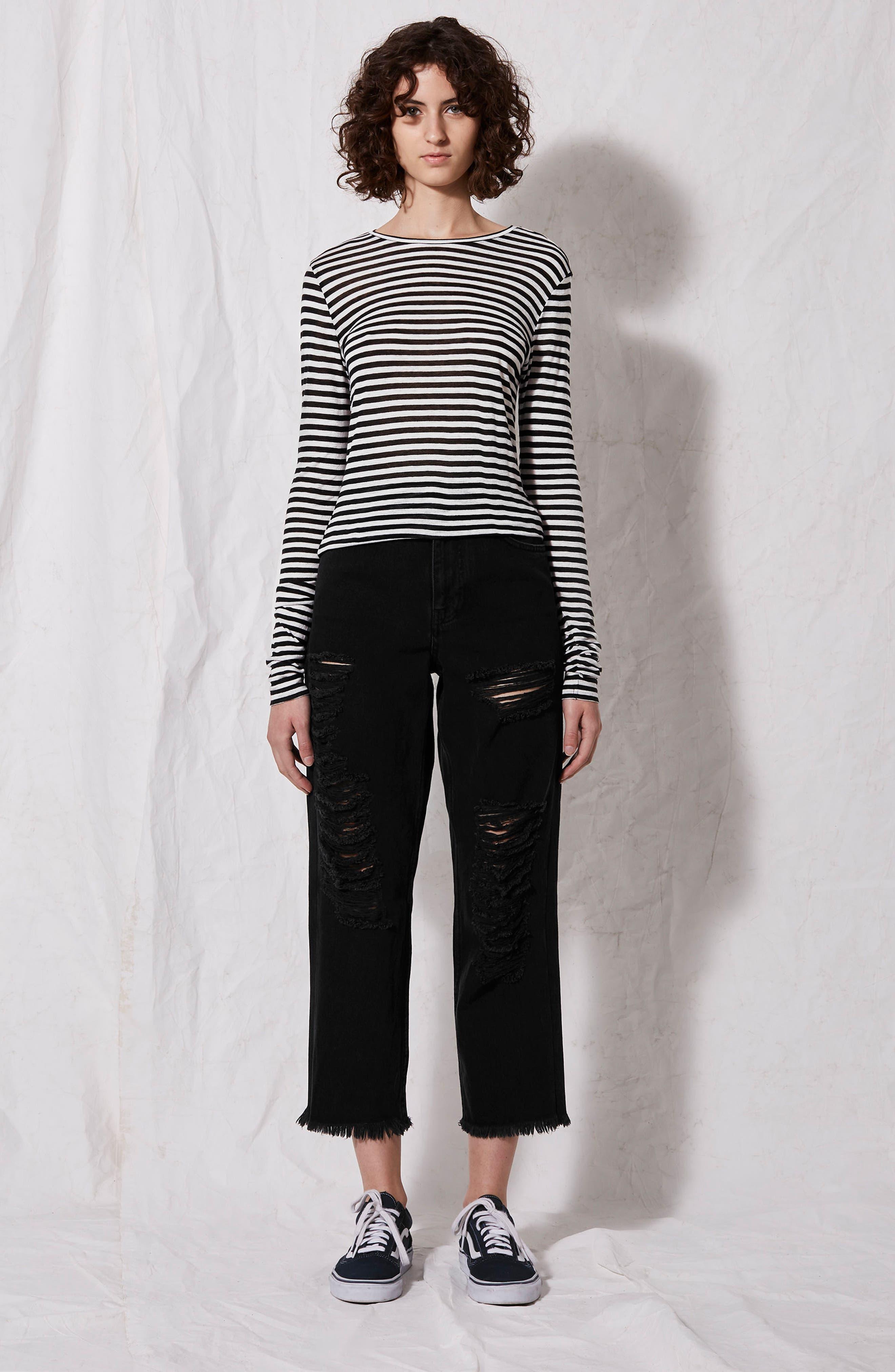Topshop Stripe Slub Shirt,                             Alternate thumbnail 5, color,                             001
