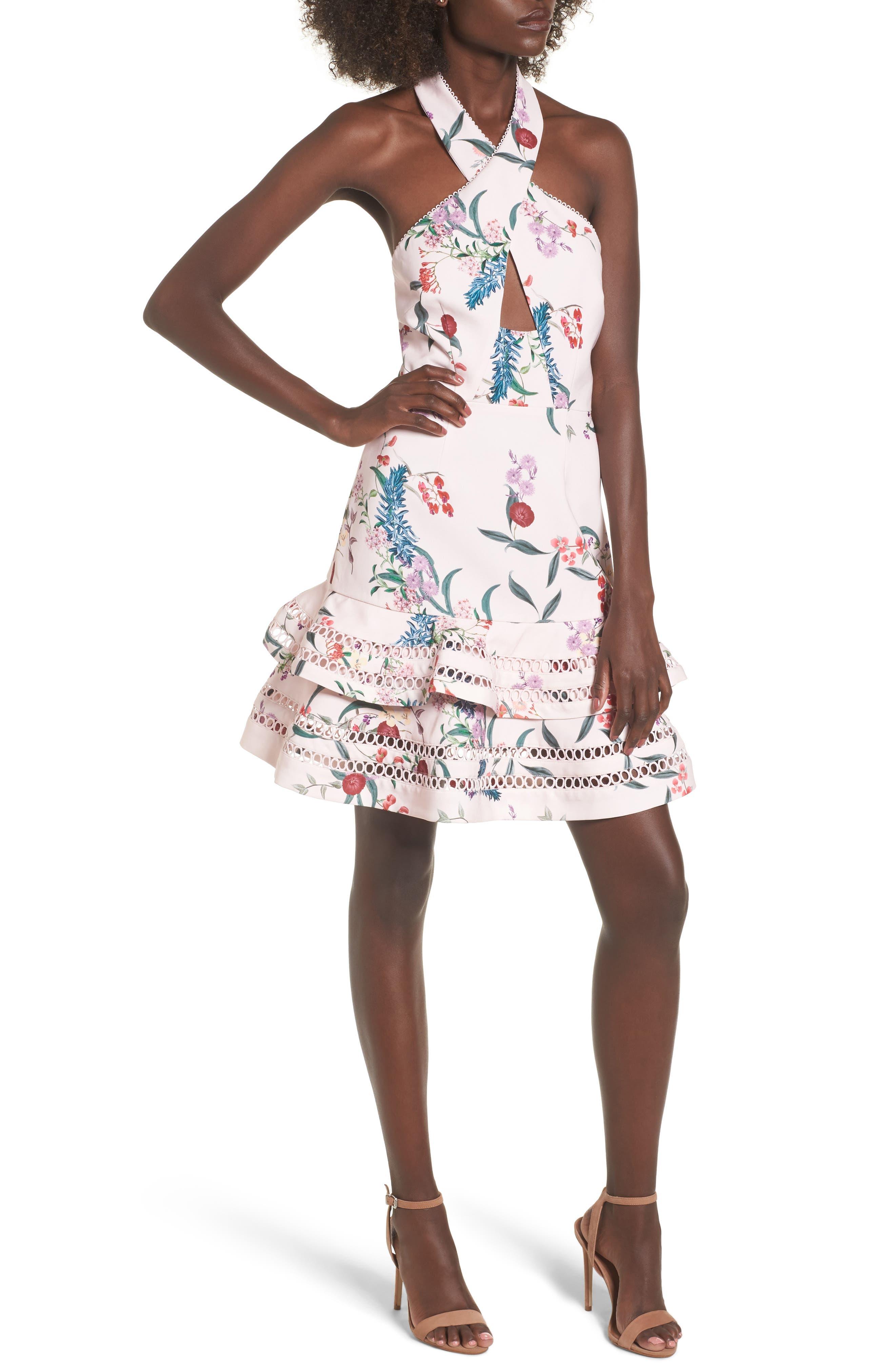 Indulge Halter A-Line Dress,                         Main,                         color, 650
