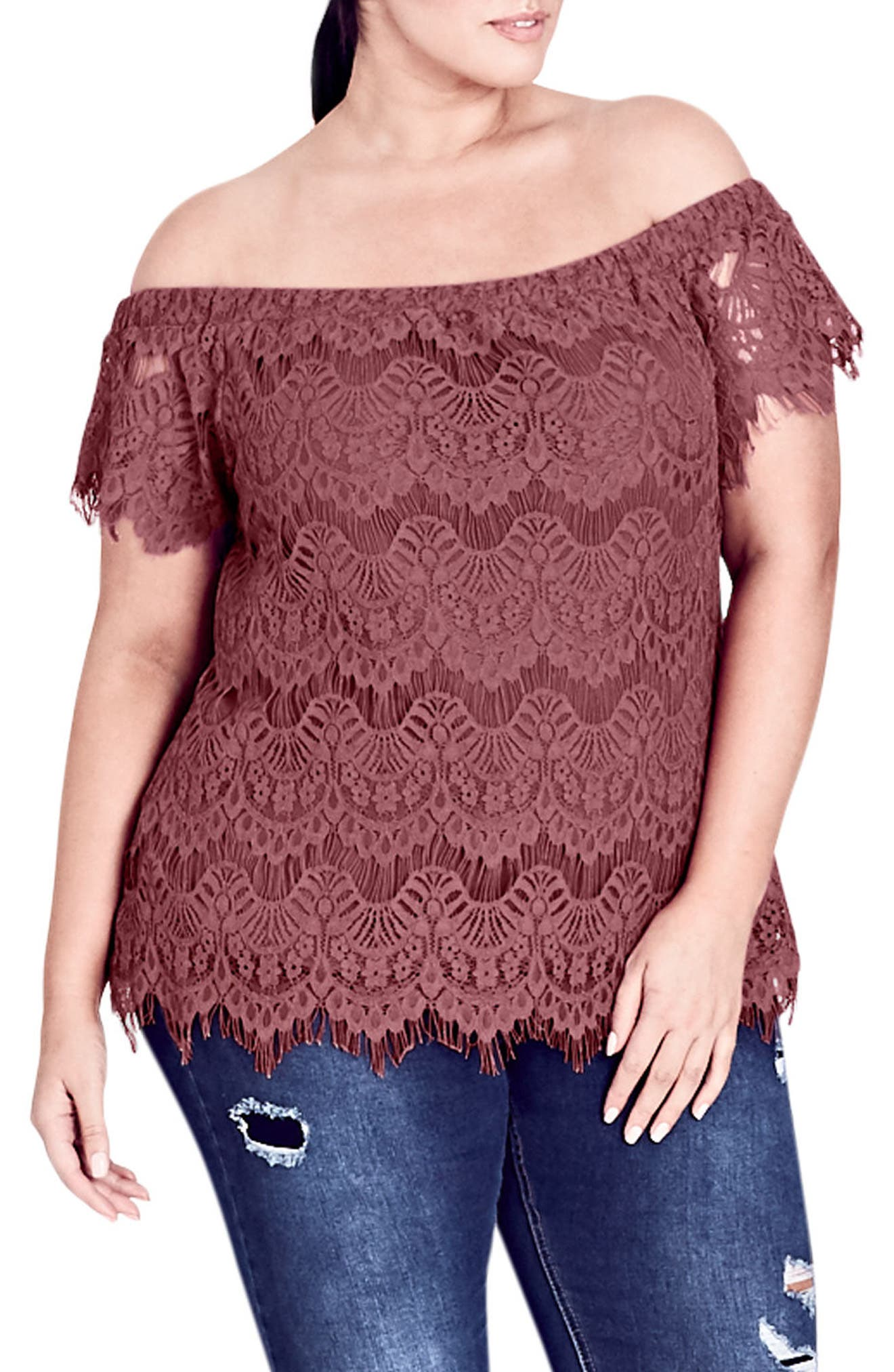 Lacy Off the Shoulder Top,                             Main thumbnail 1, color,                             DUSTY ROSE