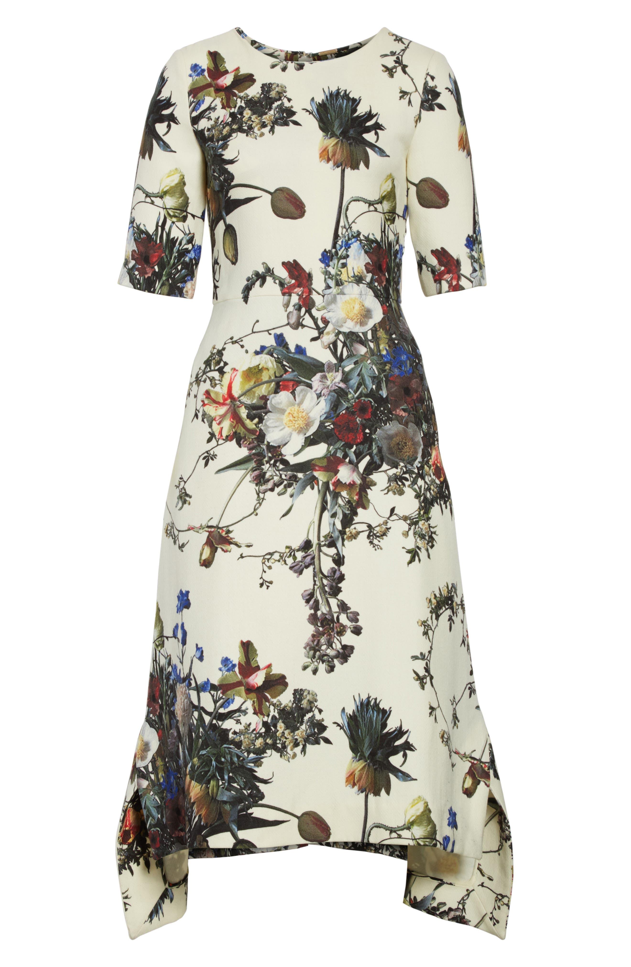 Floral Print Trapeze Dress,                             Alternate thumbnail 6, color,                             900