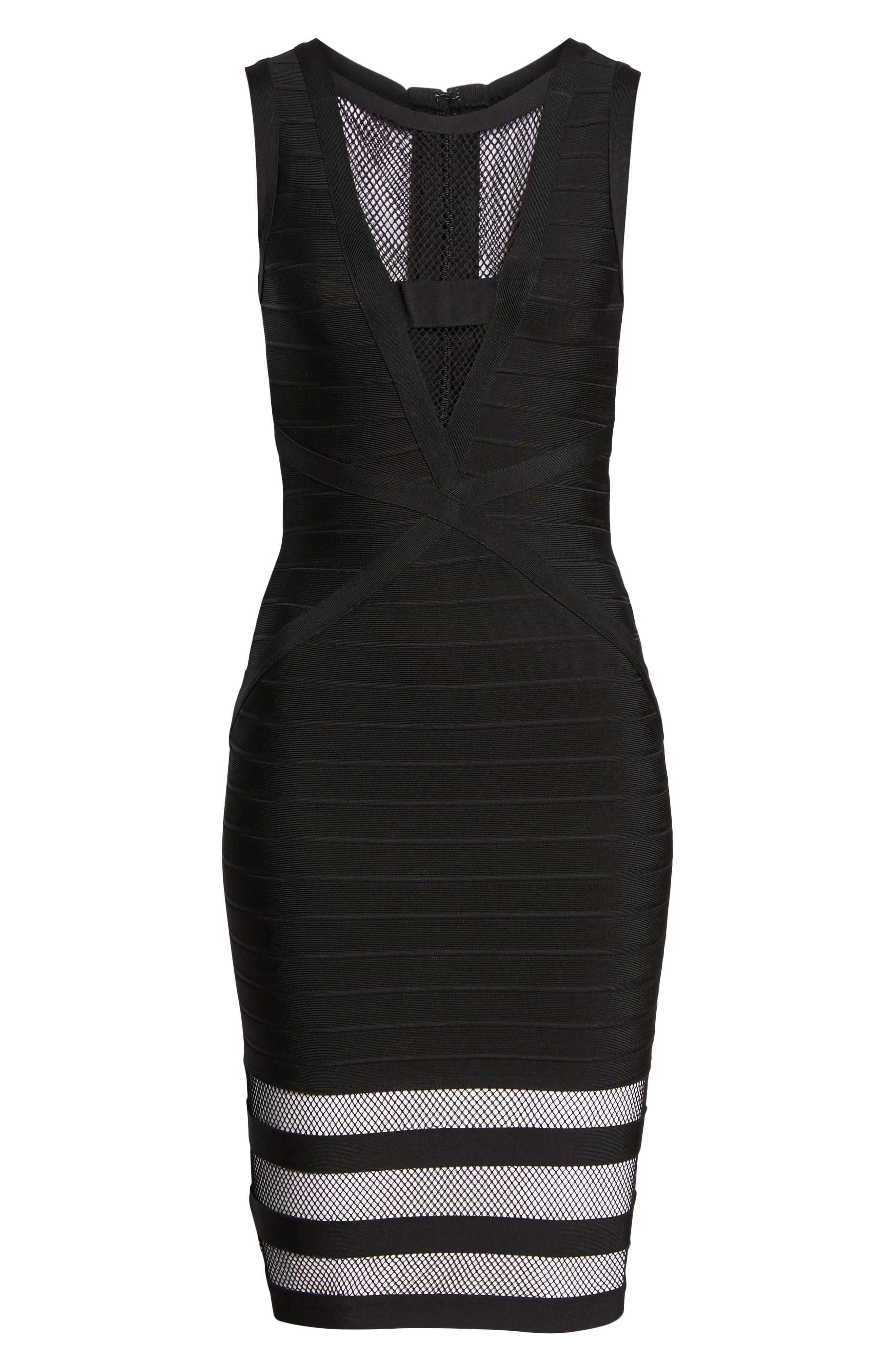 Illusion Mesh Body-Con Dress,                             Alternate thumbnail 7, color,                             BLACK
