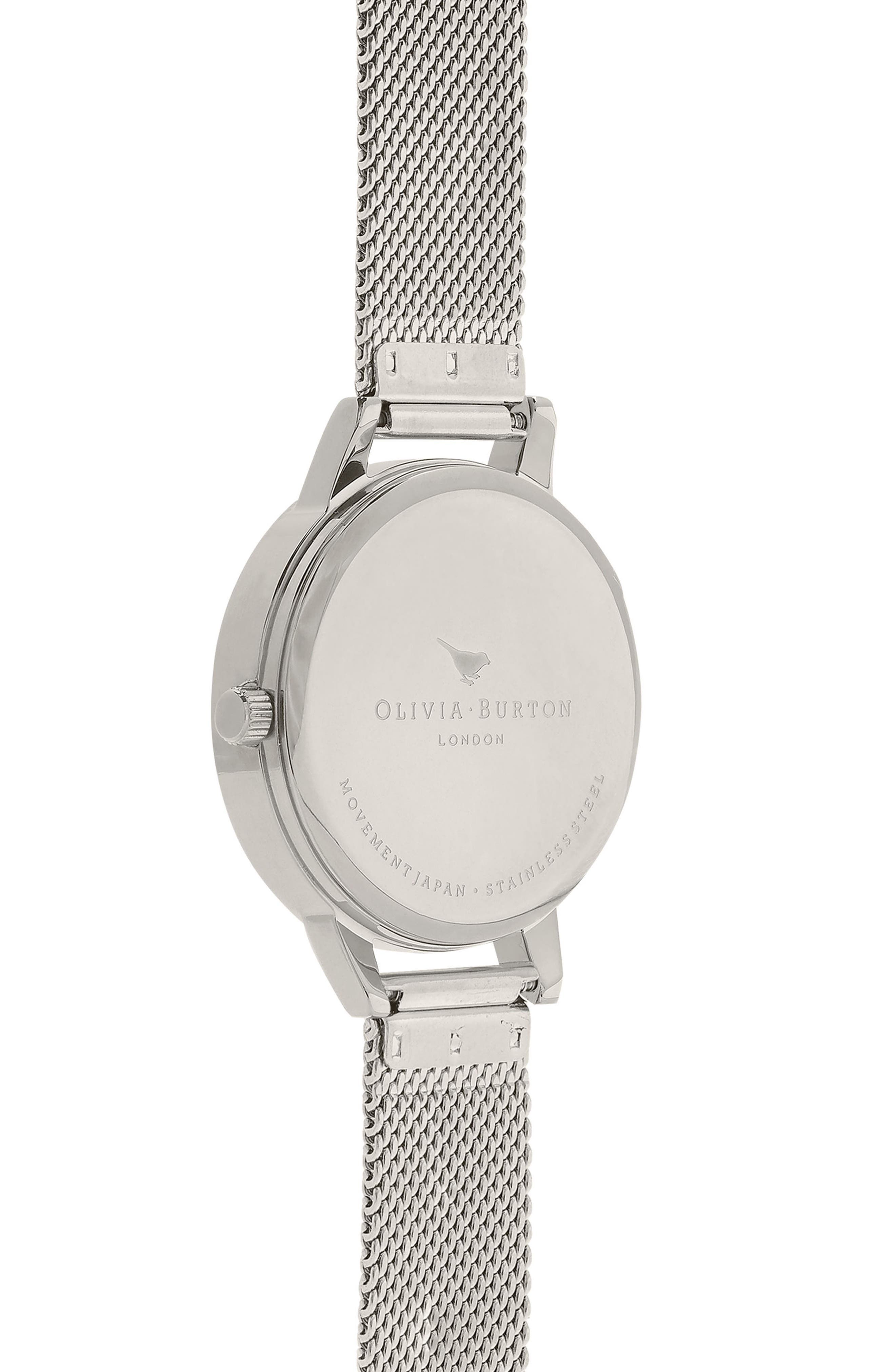 3D Anemone Mesh Strap Watch, 30mm,                             Alternate thumbnail 2, color,                             SILVER/ BLACK/ SILVER