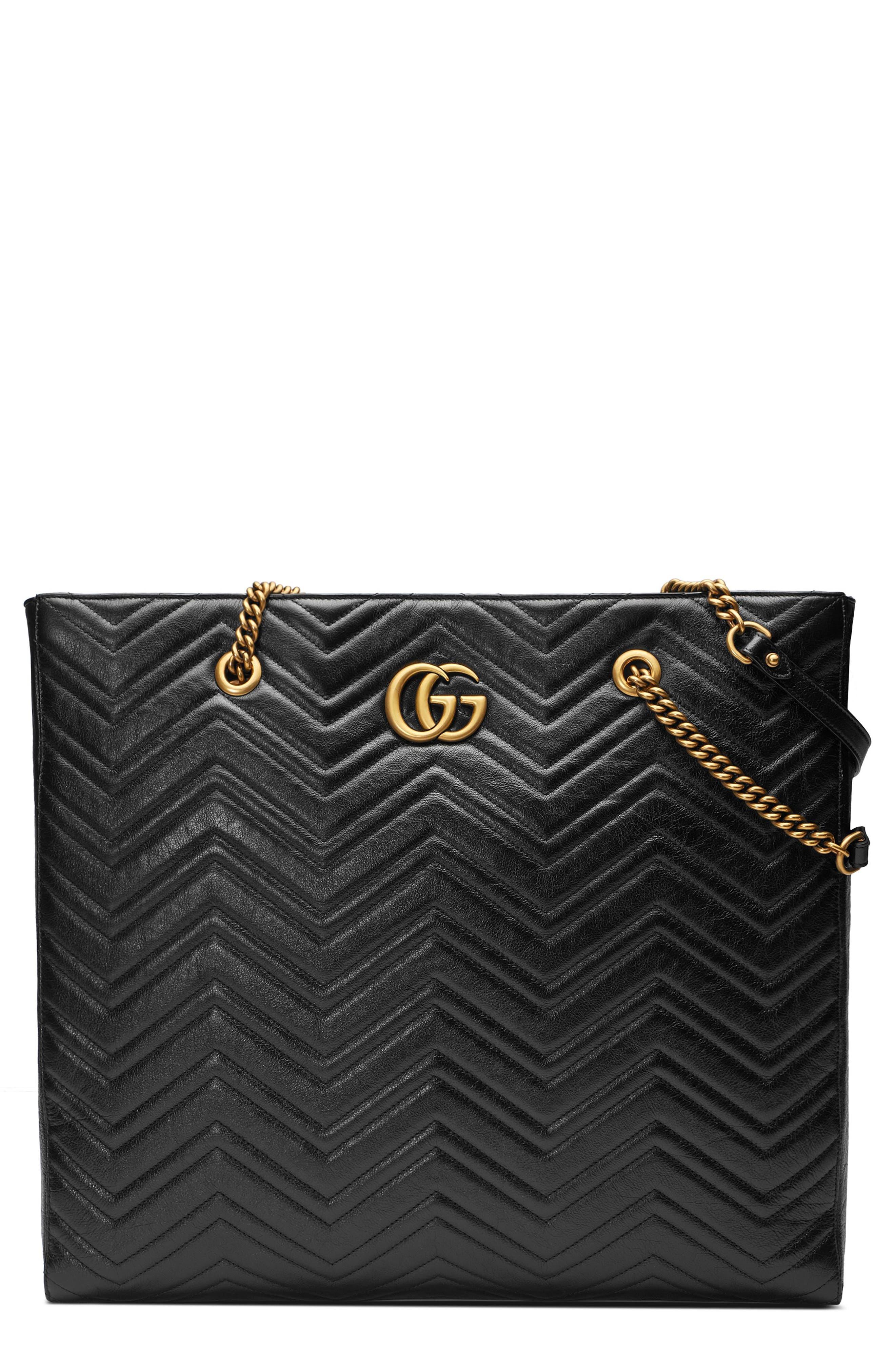GG Marmont 2.0 Matelassé Leather North/South Tote Bag,                         Main,                         color, NERO/ NERO