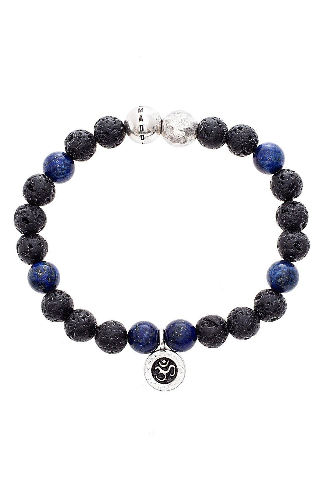 Lapis Lazuli & Lava Rock Bead Bracelet,                             Main thumbnail 1, color,                             BLACK/ BLUE
