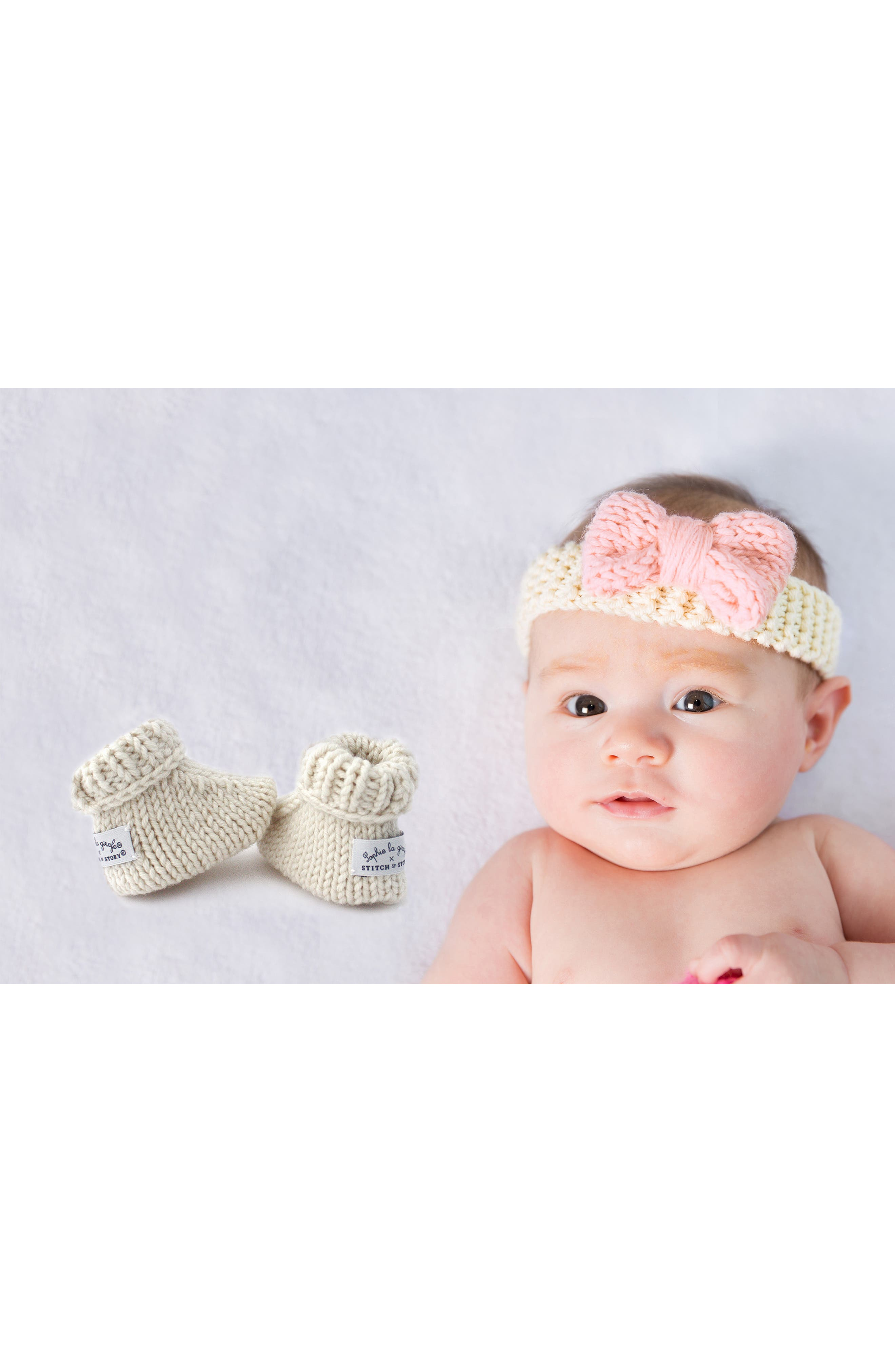 Lily Bow & Booties Knitting Kit,                             Alternate thumbnail 4, color,                             PINK/ IVORY