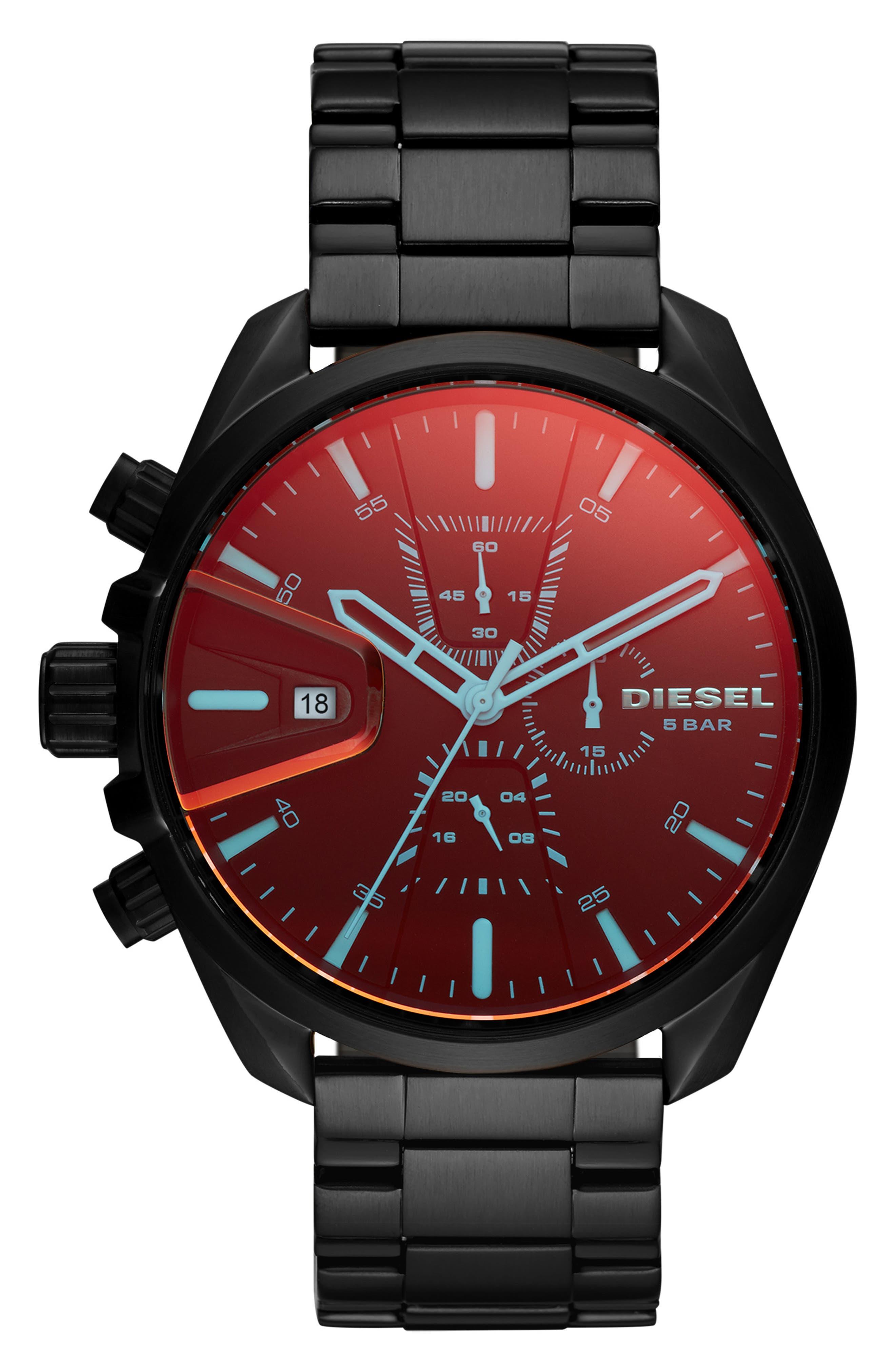 MS9 Chronograph Bracelet Watch, 47mm,                             Main thumbnail 1, color,                             BLACK
