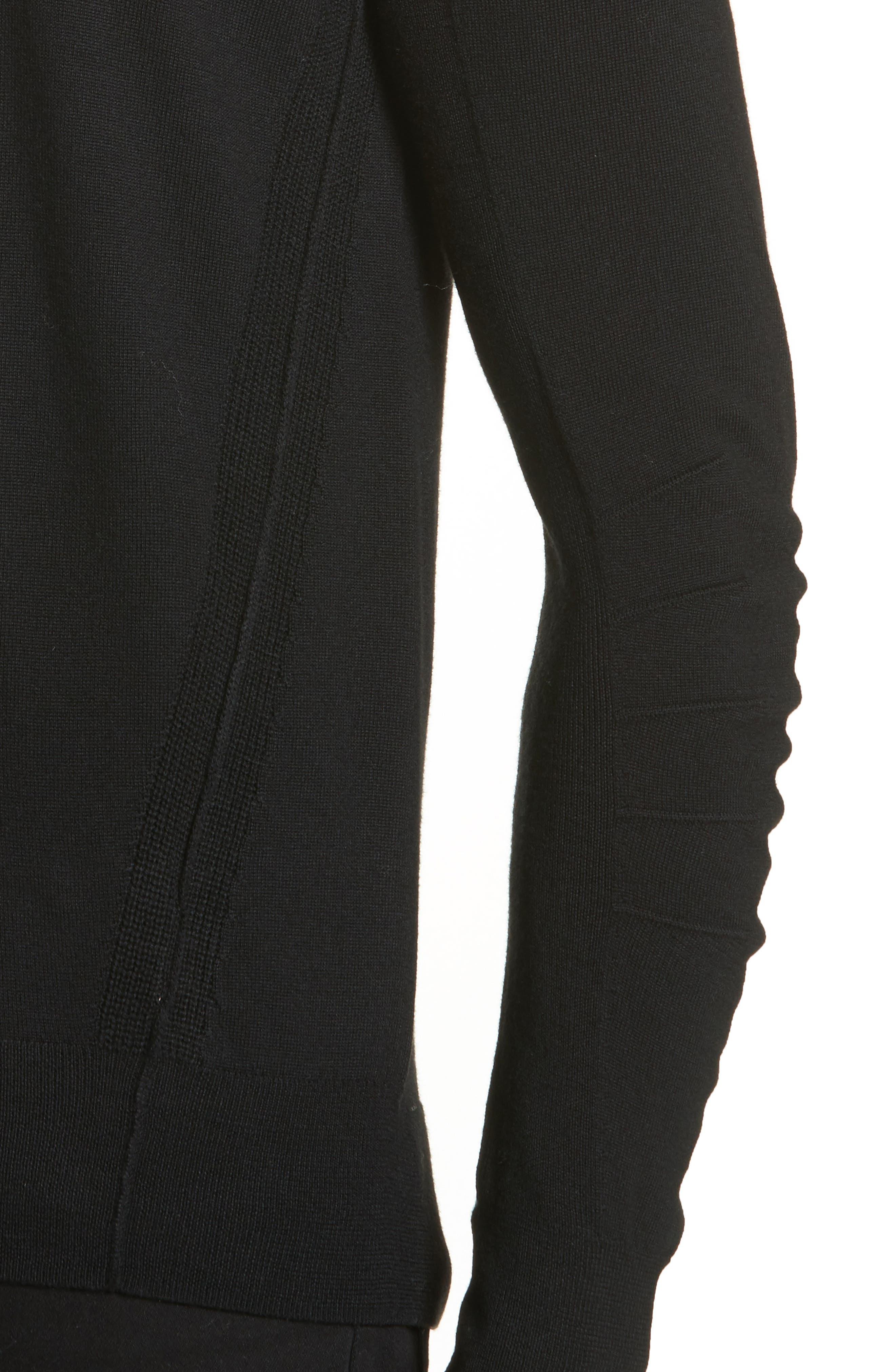 Carter Merino Wool Crewneck Sweater,                             Alternate thumbnail 4, color,                             BLACK