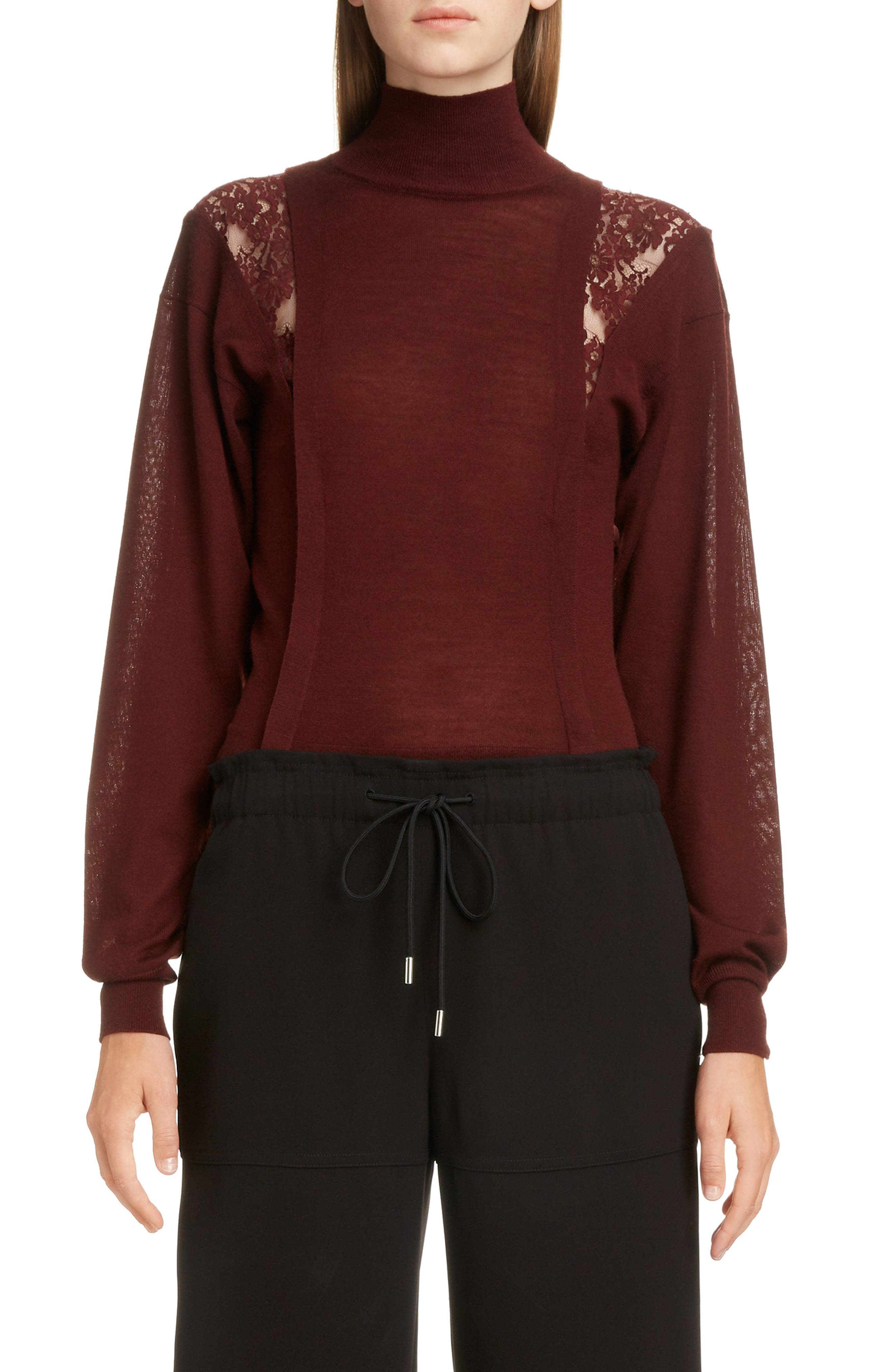 Lace Inset Wool & Silk Sweater,                         Main,                         color, DARK RED