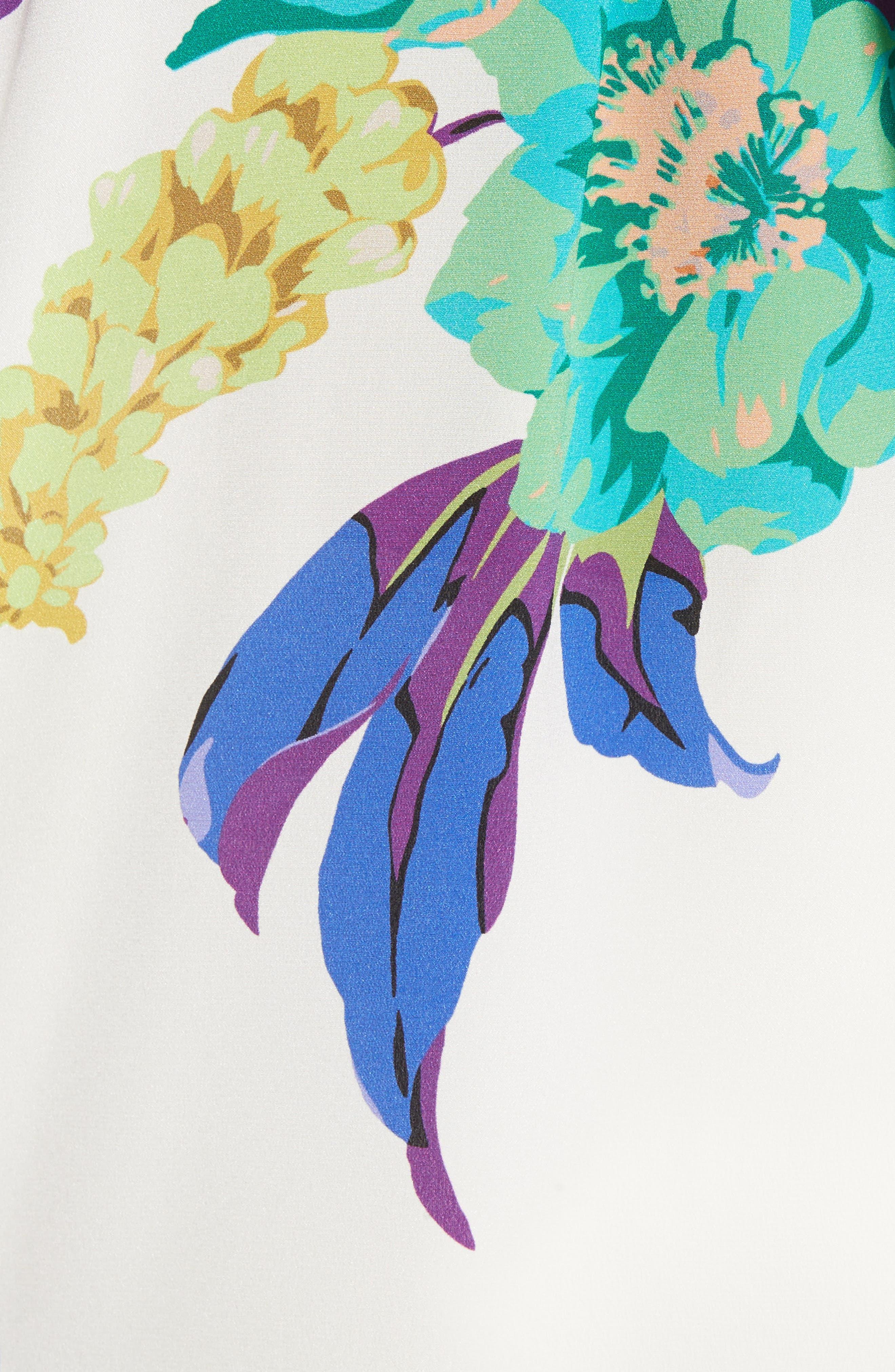 Floral Silk Blouse,                             Alternate thumbnail 5, color,                             100