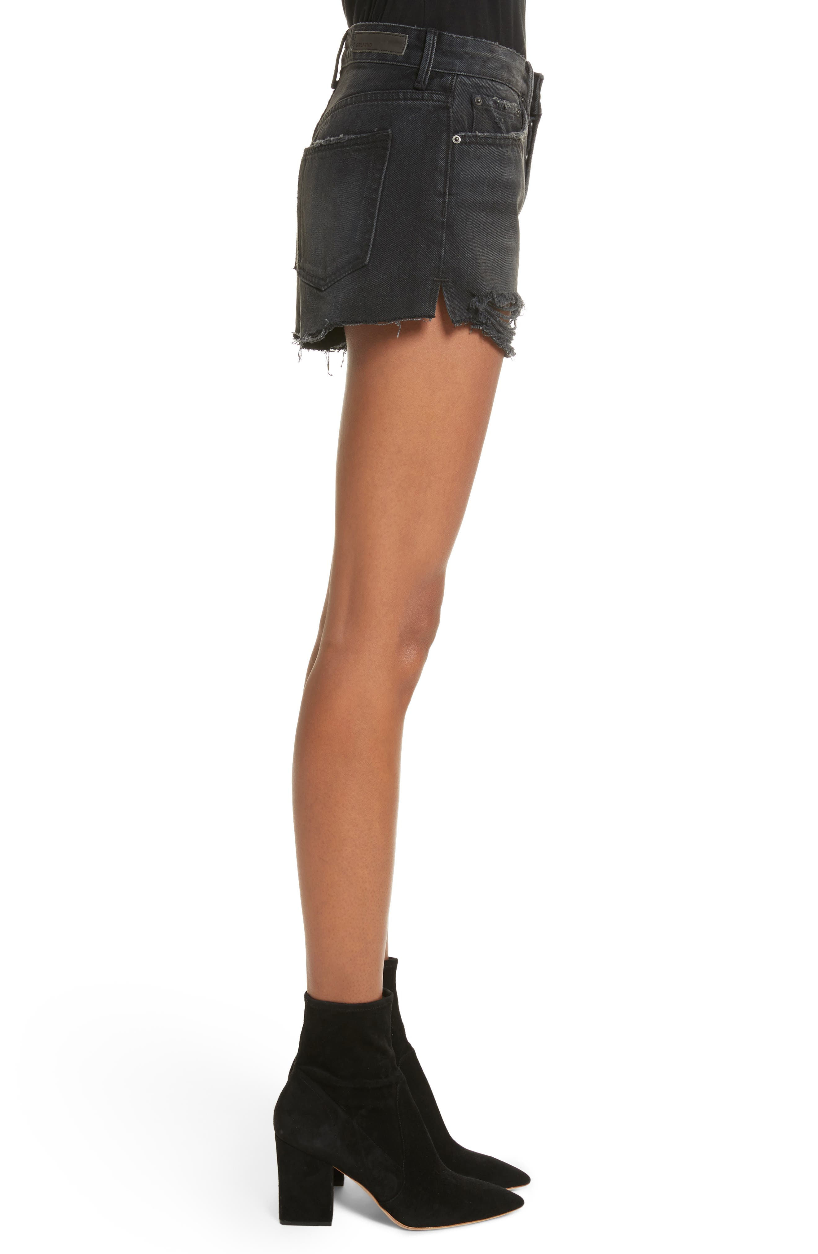 Cindy Rigid High Waist Denim Shorts,                             Alternate thumbnail 3, color,                             007