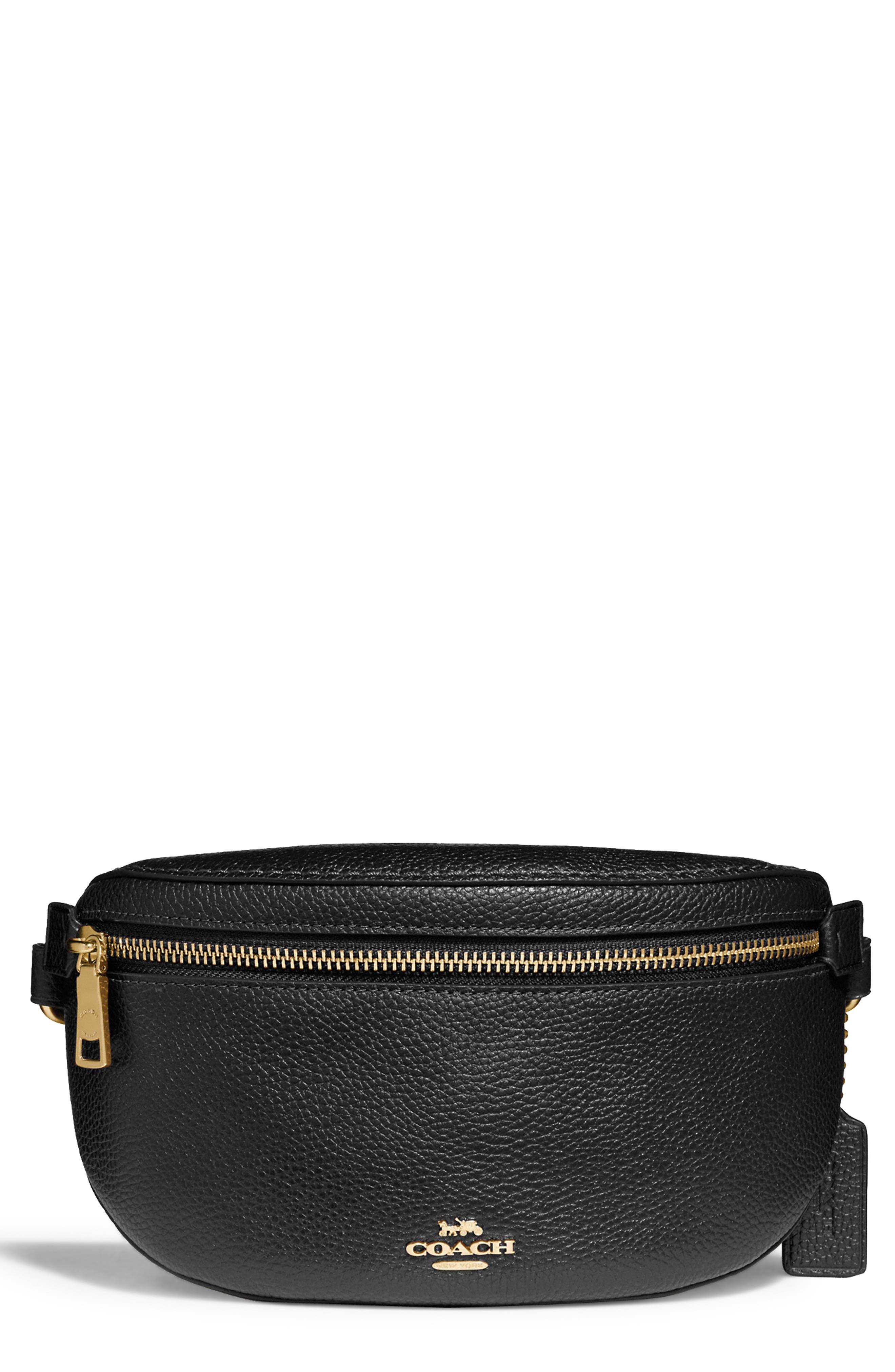 Pebbled Leather Belt Bag, Main, color, BLACK