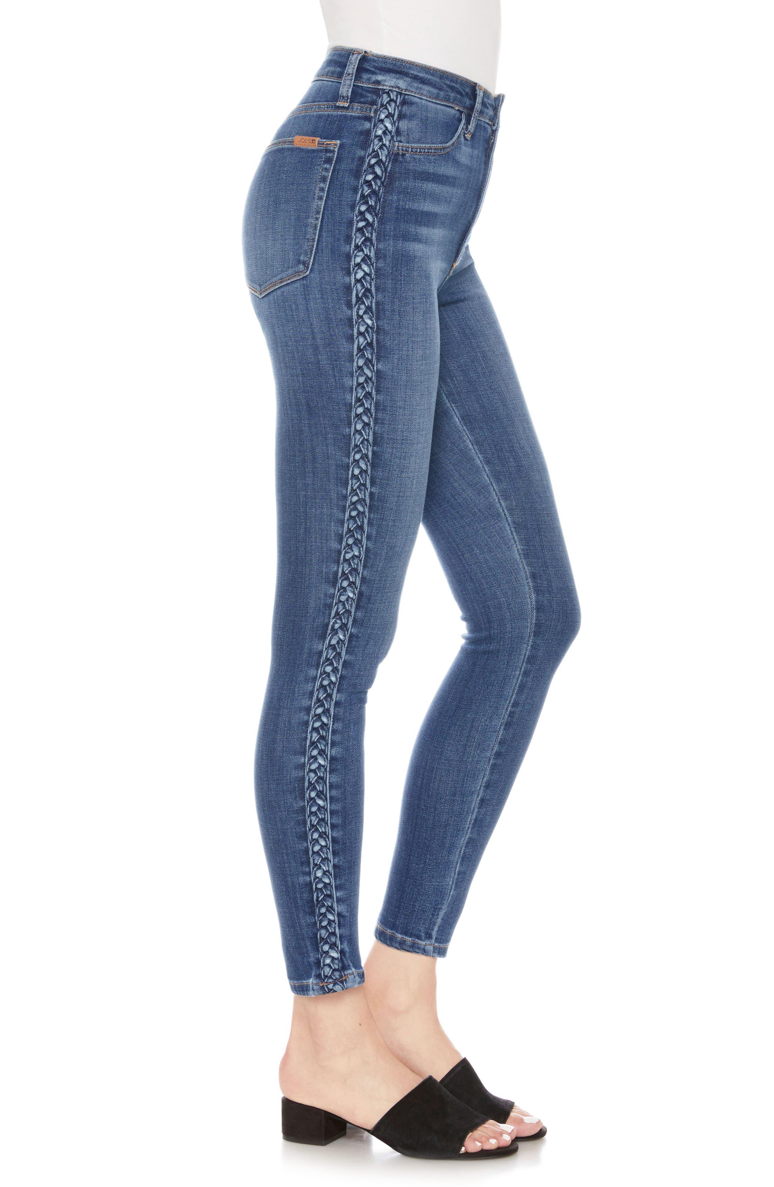 Charlie Braid High Waist Ankle Skinny Jeans,                             Alternate thumbnail 3, color,                             415