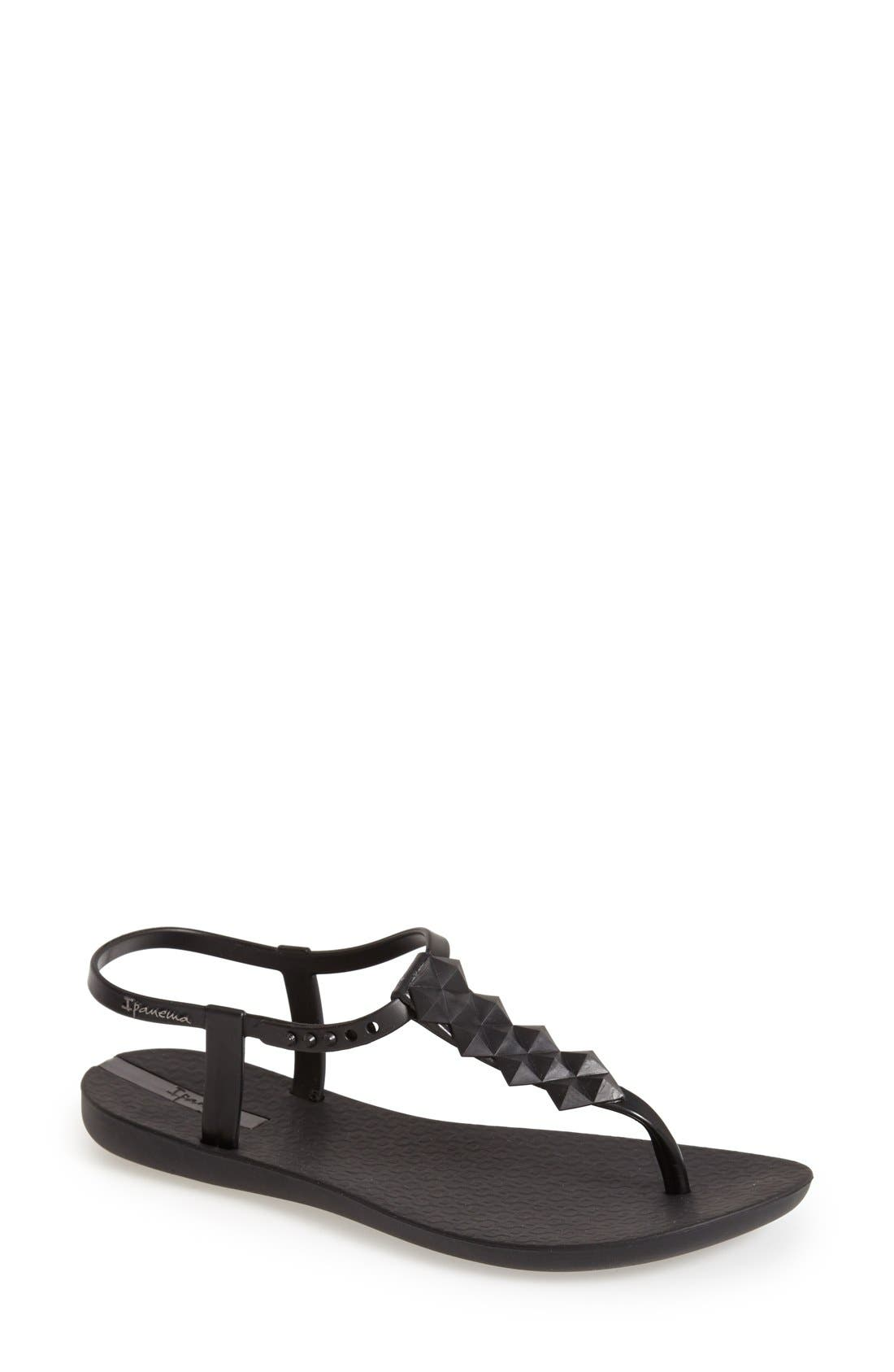 'Cleo' Pyramid Stud Ankle Strap Flip Flop,                             Main thumbnail 1, color,                             001