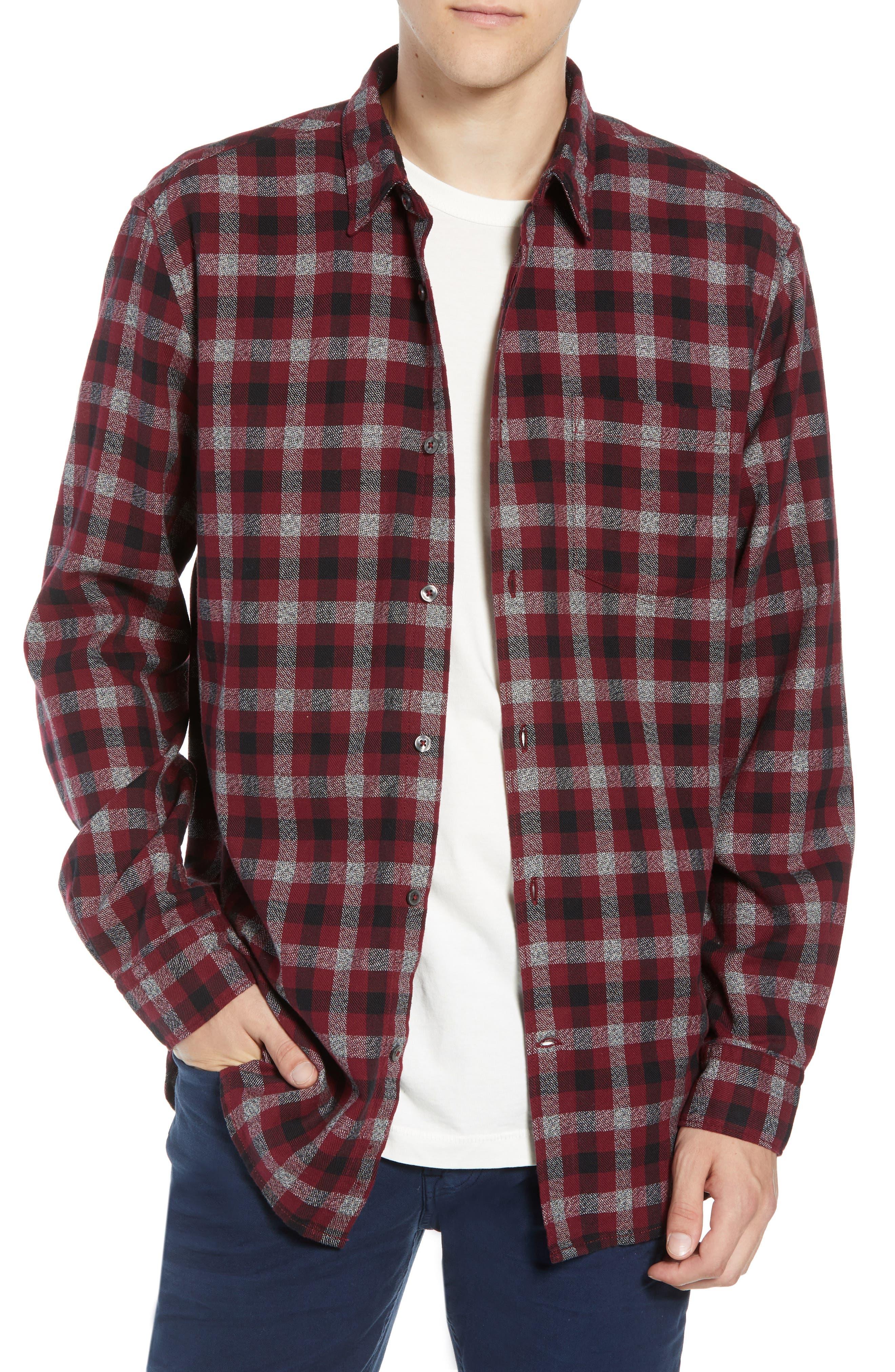 Regular Fit Dobby Check Shirt,                         Main,                         color, RASPBERRY BERET