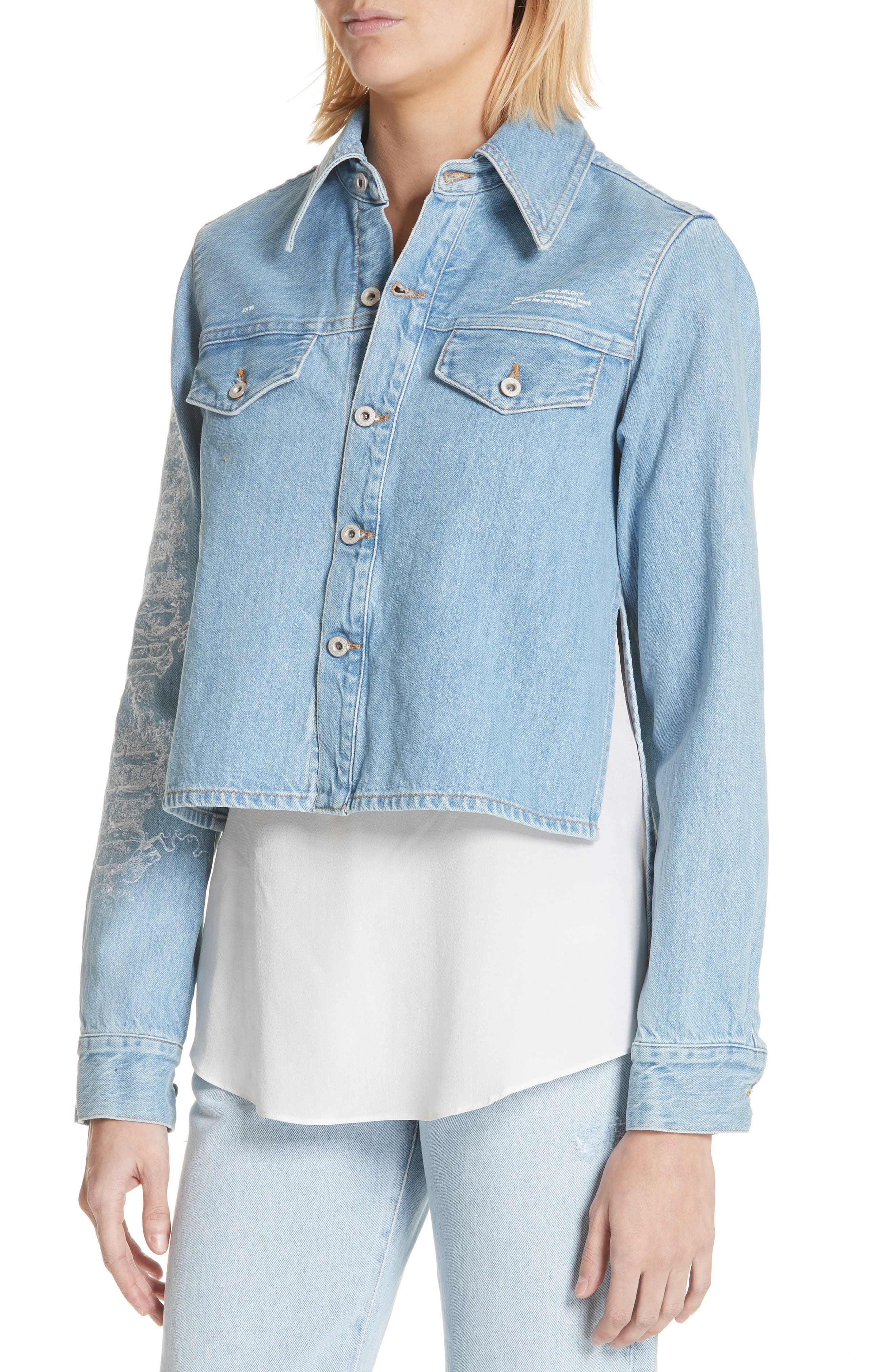 Crop Front Denim Shirt,                             Alternate thumbnail 4, color,                             400