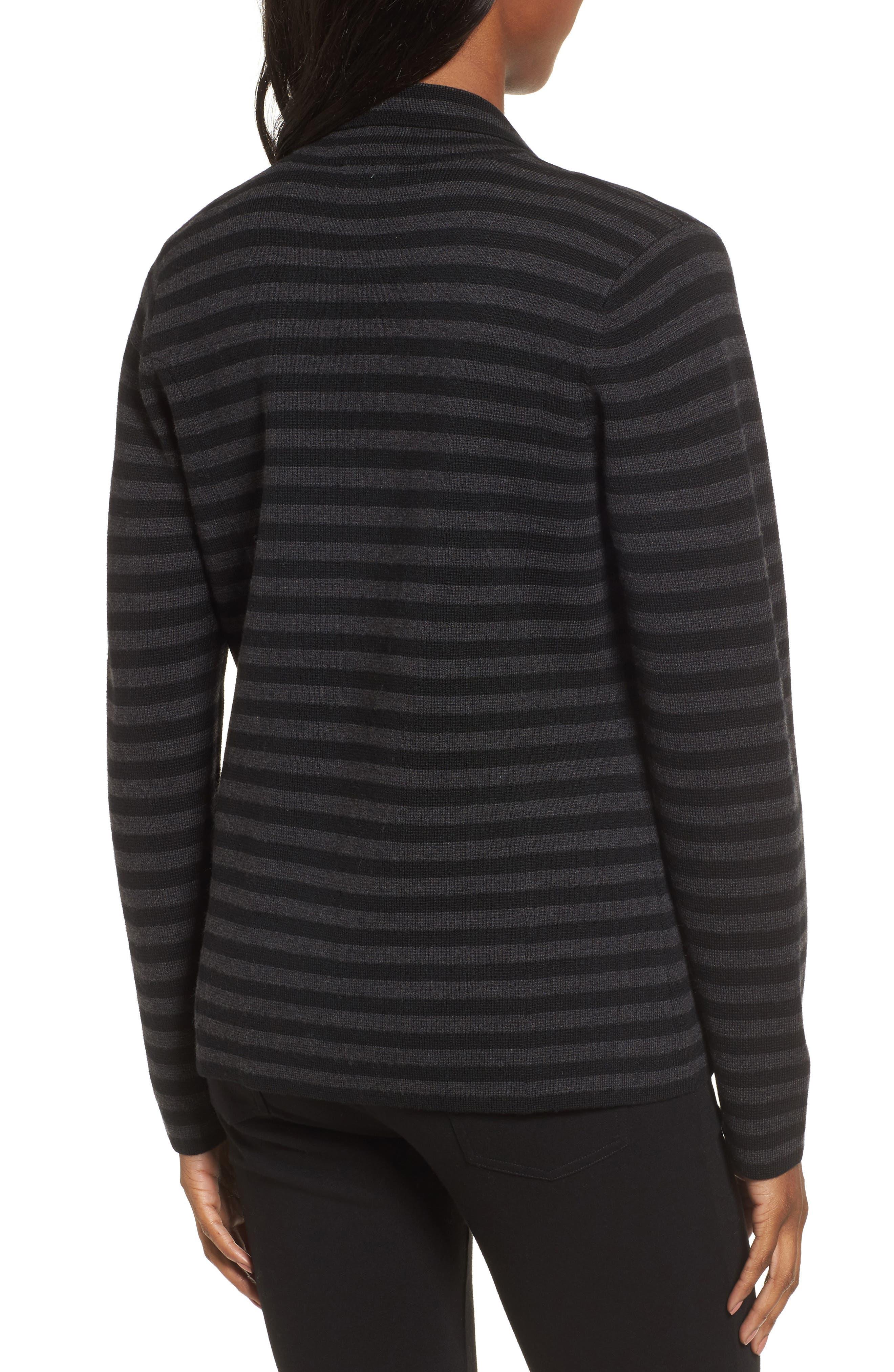 Stripe Merino Wool Knit Blazer,                             Alternate thumbnail 2, color,                             020