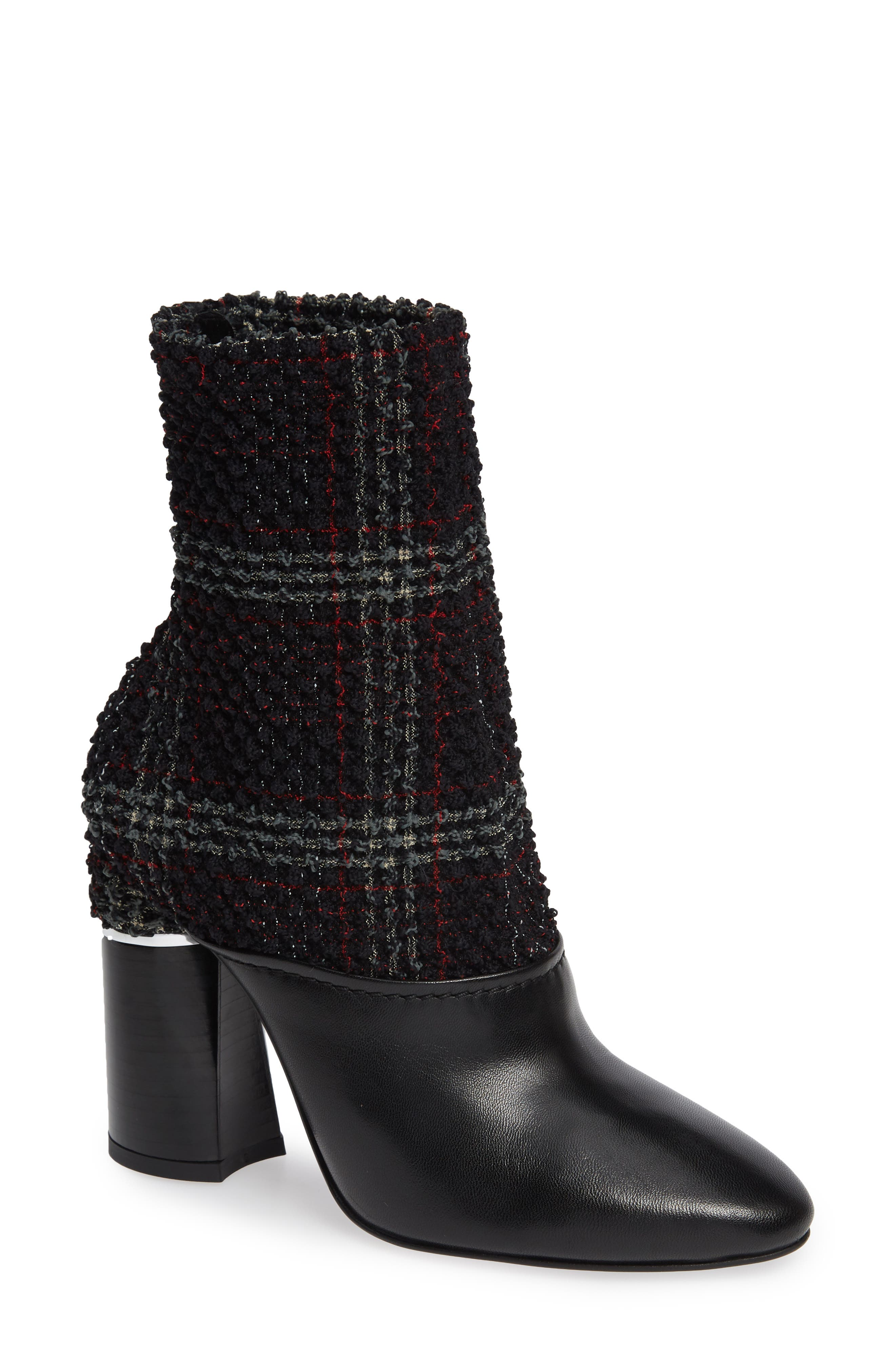 Kyoto Leather Bootie,                         Main,                         color, BLACK/ GREEN/ RED CHECK