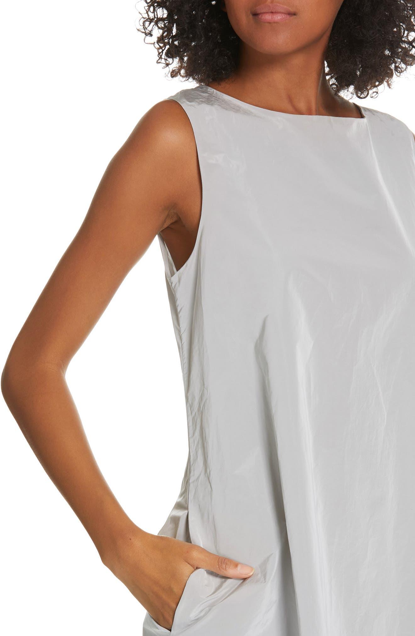 Sleeveless A-Line Maxi Dress,                             Alternate thumbnail 4, color,                             SILVER ICE