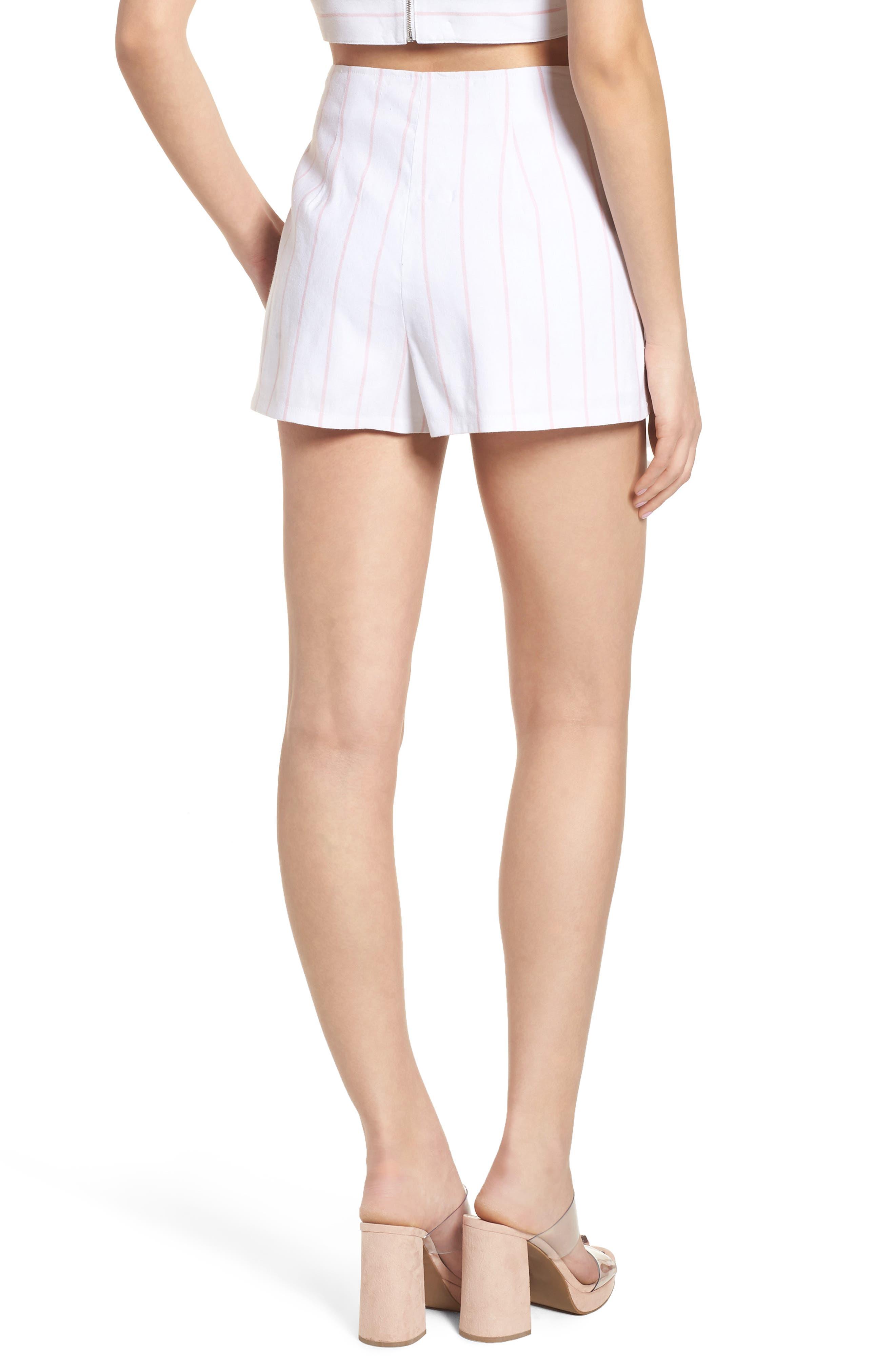 High Waist Linen Blend Shorts,                             Alternate thumbnail 7, color,