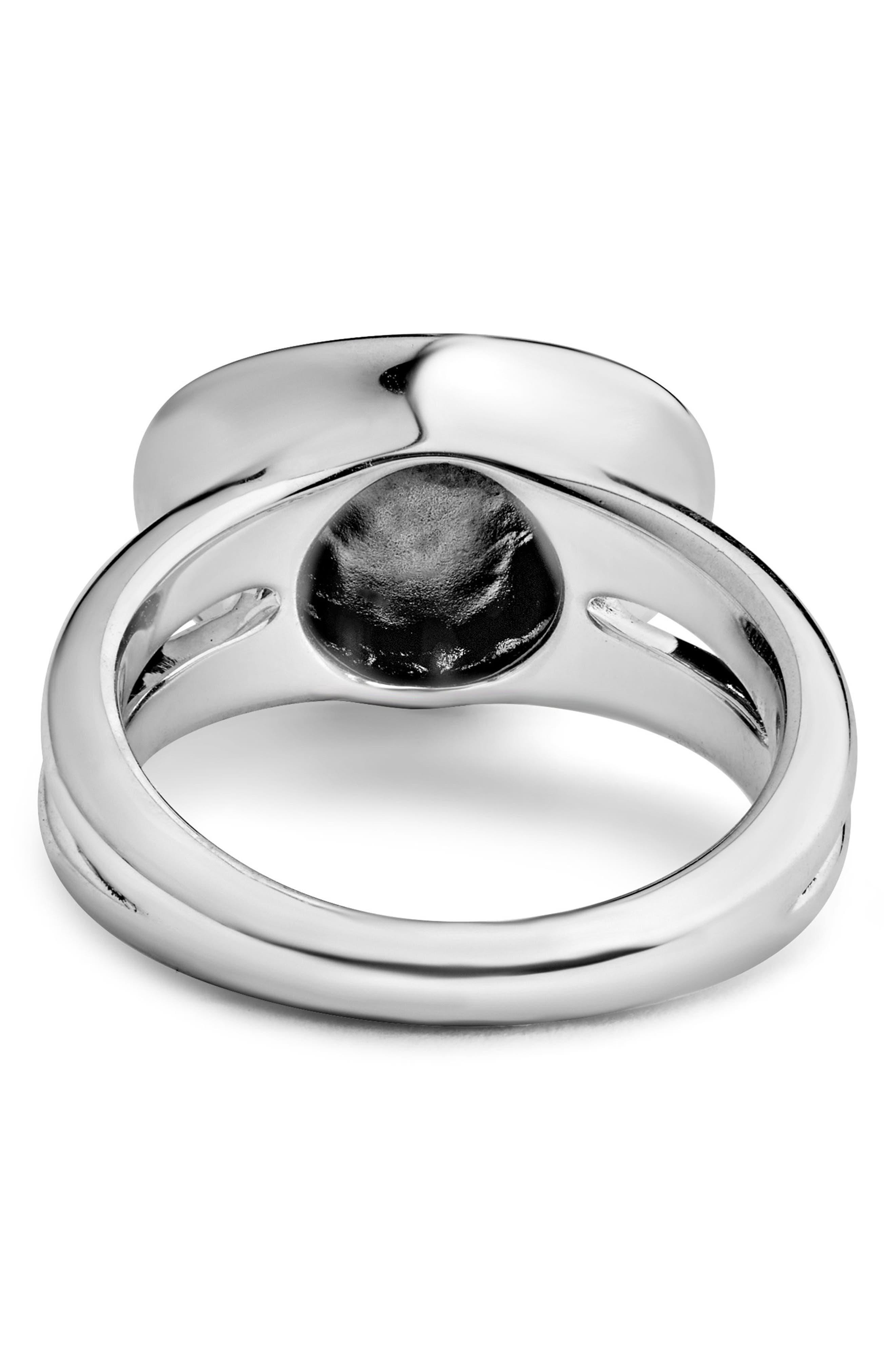 Signature Caviar Horizontal Ellipse Ring,                             Alternate thumbnail 3, color,                             SILVER