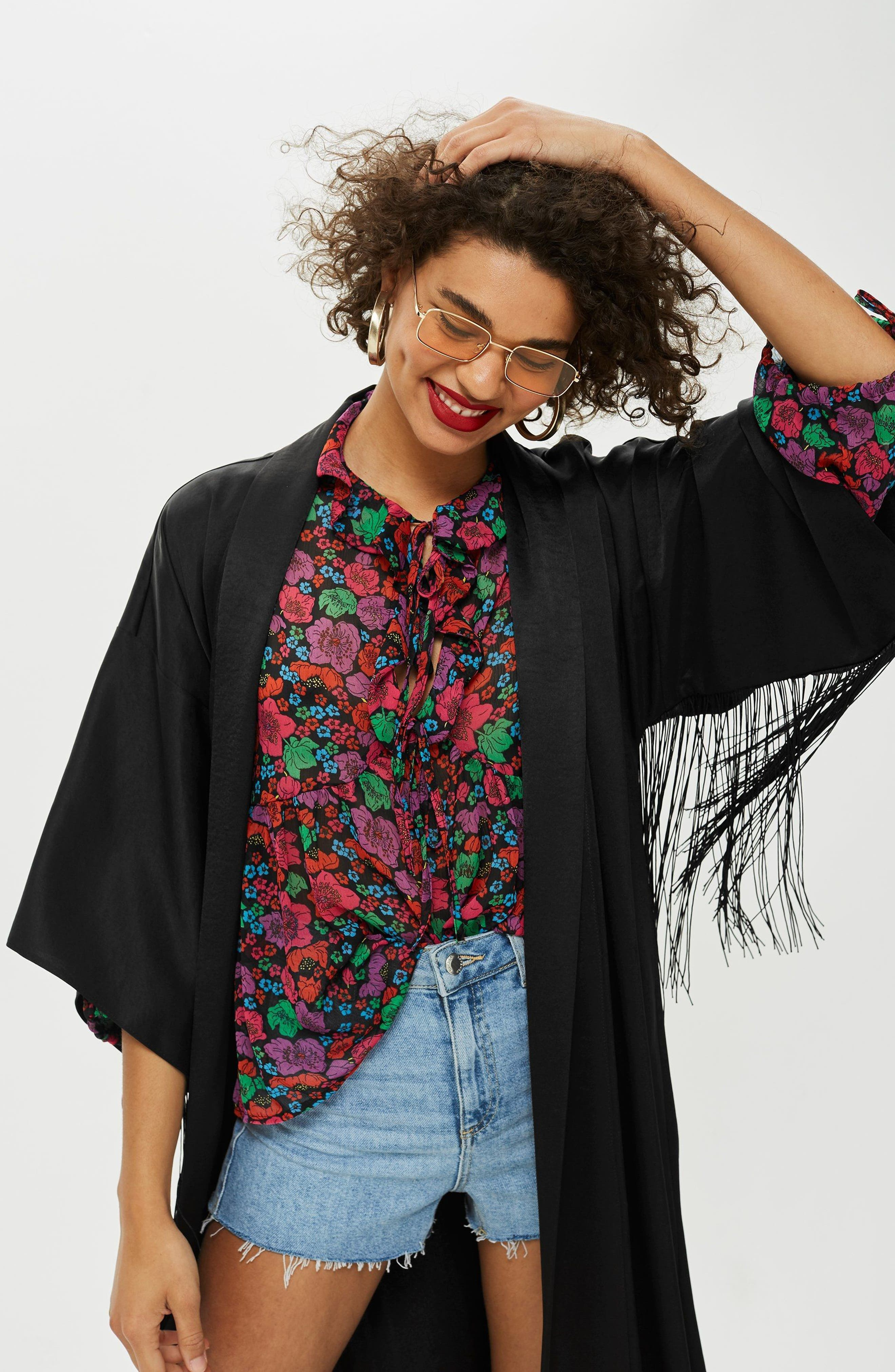 Longline Fringe Kimono,                             Alternate thumbnail 4, color,                             001