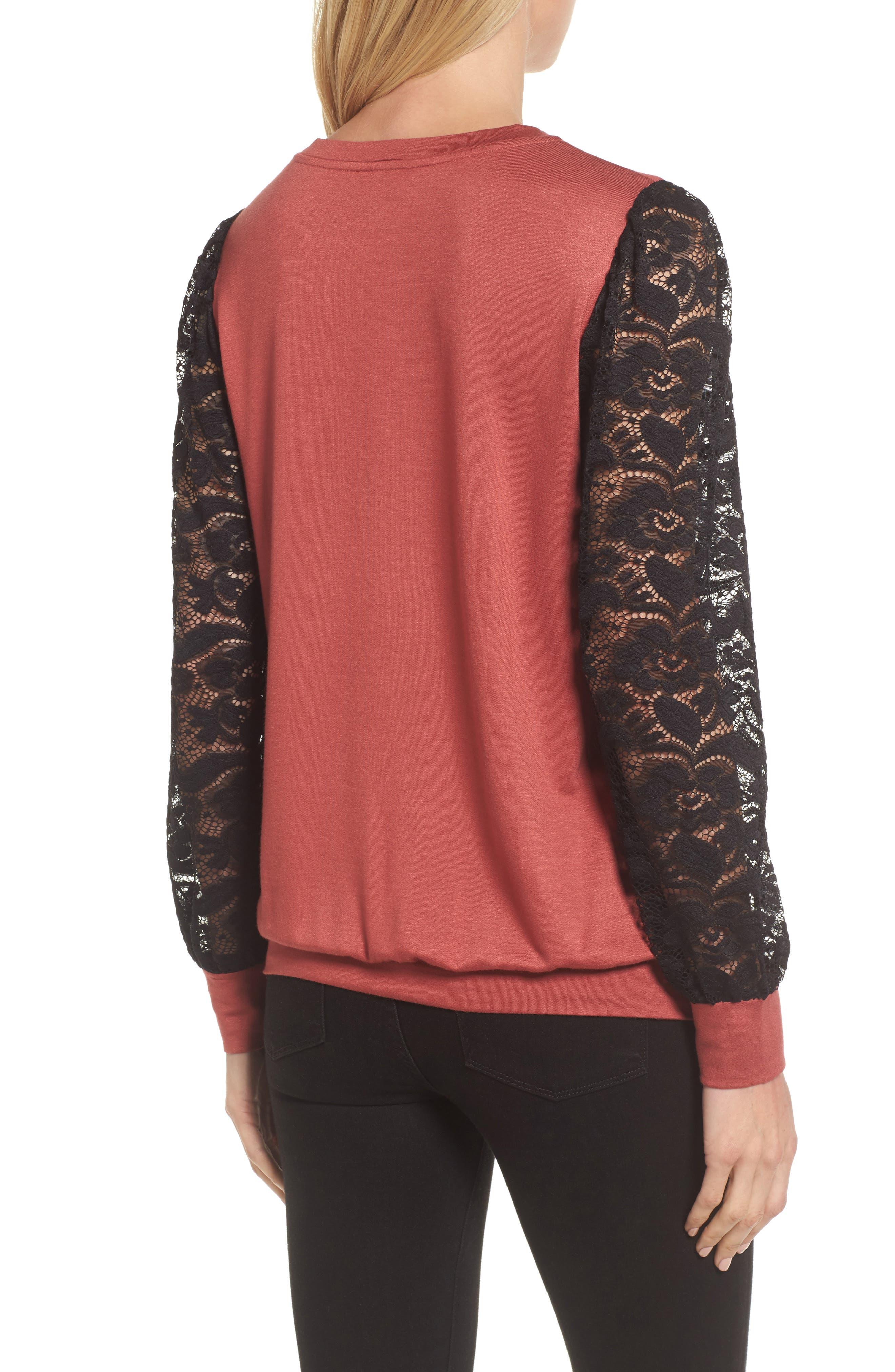 Lace Sleeve Sweatshirt,                             Alternate thumbnail 8, color,