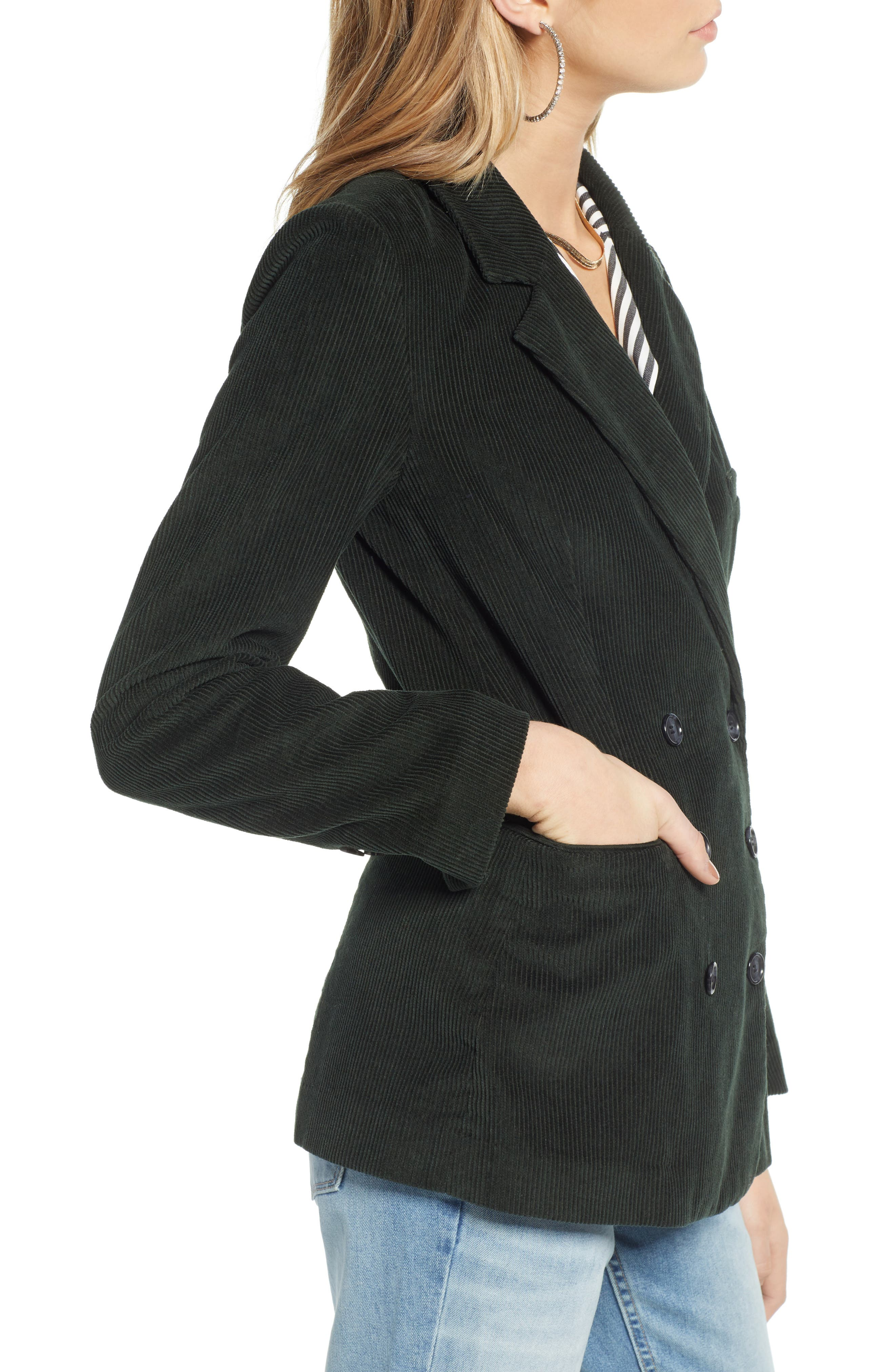 Double Breasted Corduroy Blazer,                             Alternate thumbnail 3, color,                             GREEN TIMBER