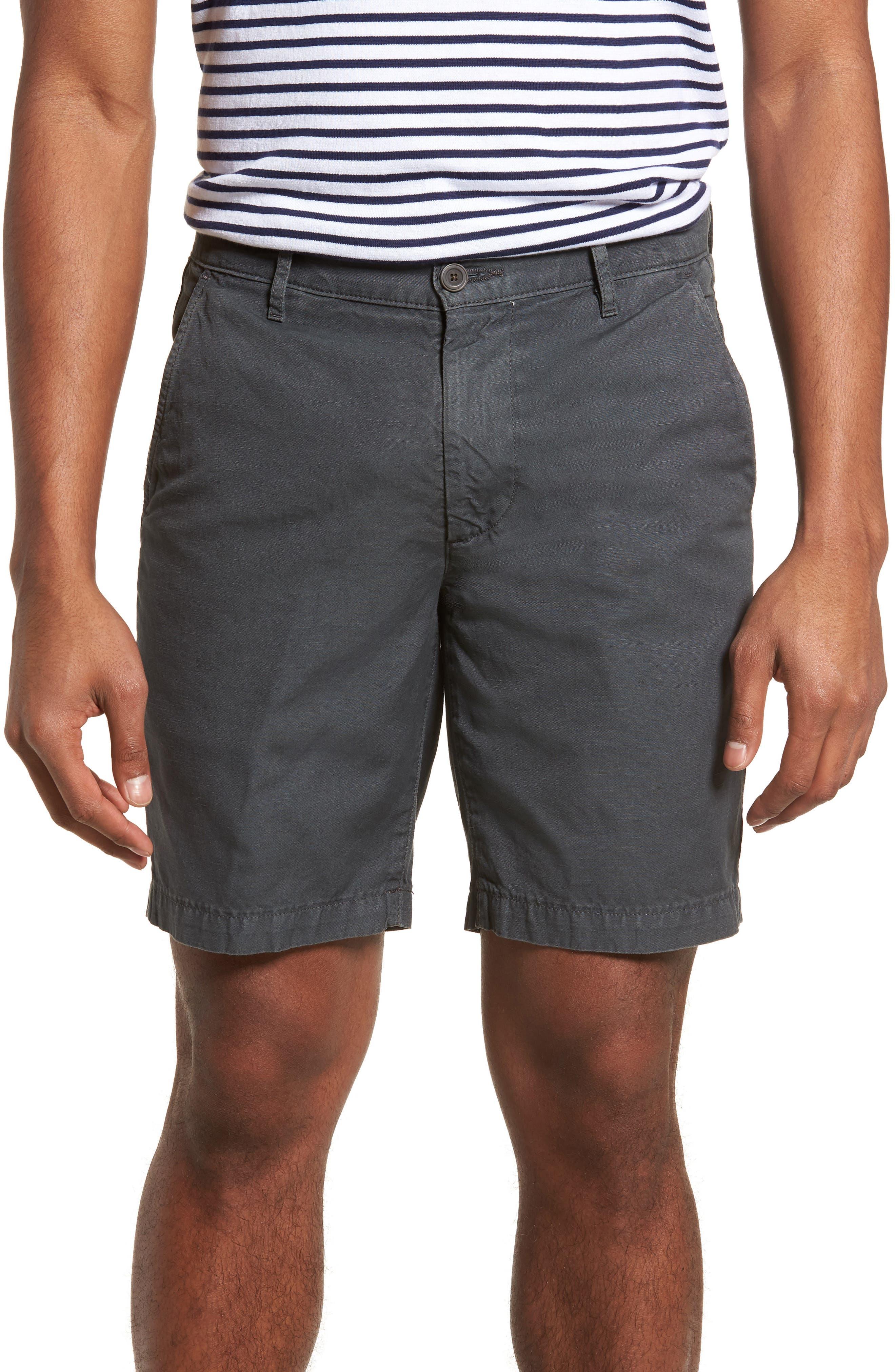 Wanderer Slim Fit Cotton & Linen Shorts,                             Main thumbnail 1, color,                             SULFUR SMOKE GREY