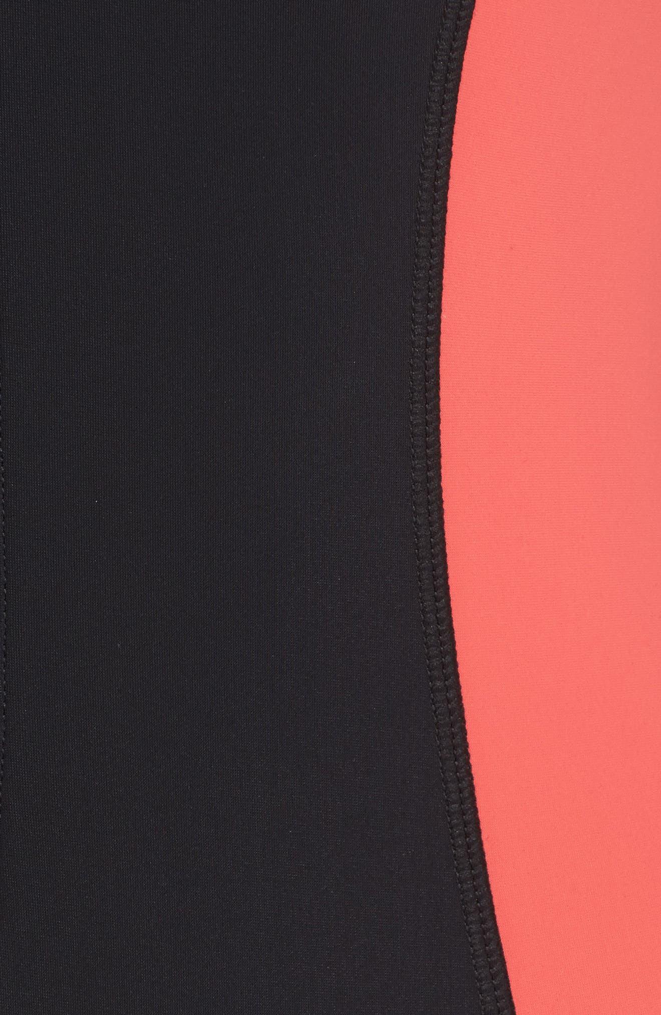 Resist Me Zip Front Surf One-Piece Swimsuit,                             Alternate thumbnail 5, color,                             001