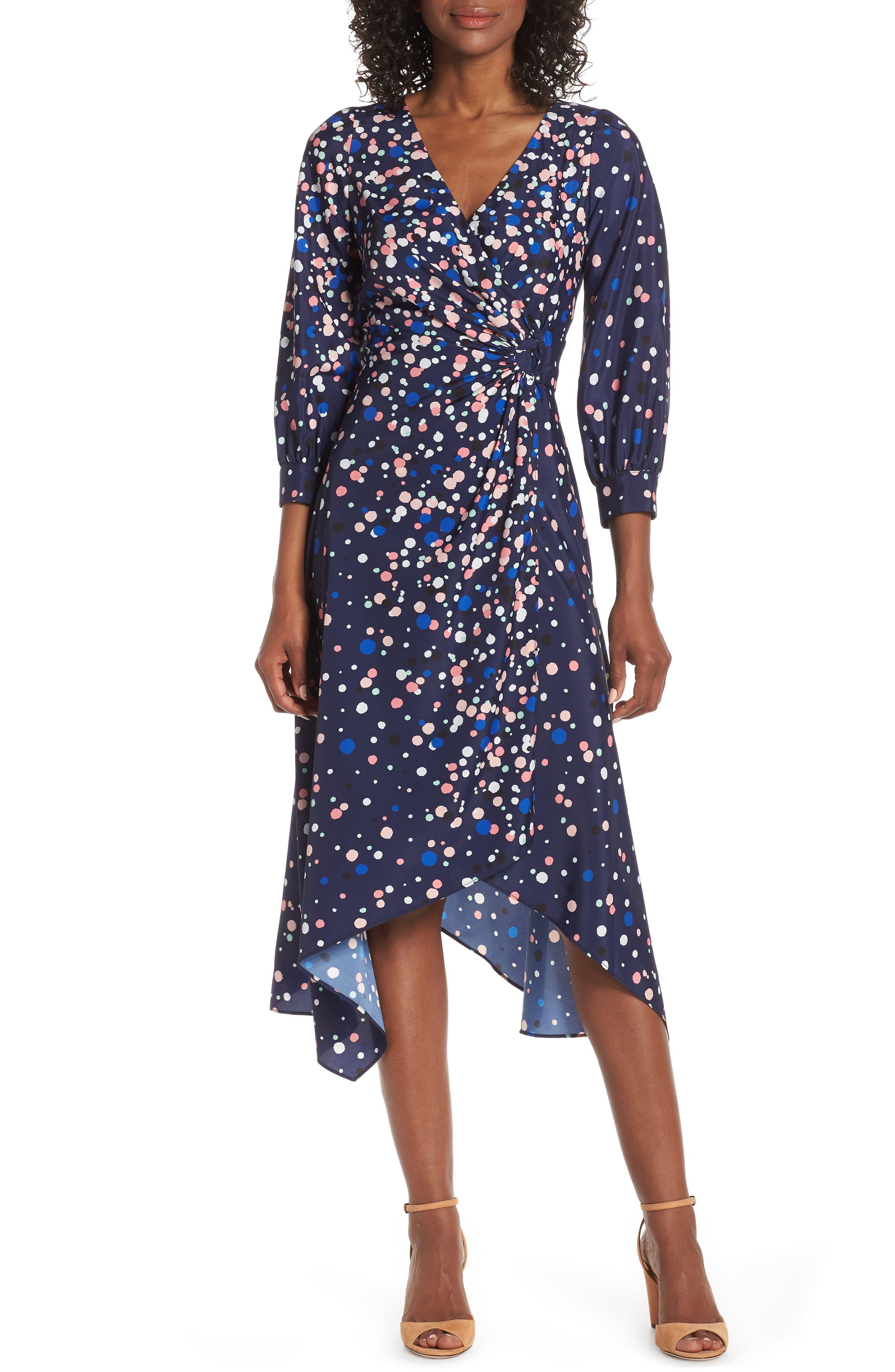 Eliza J Faux Wrap Midi Dress, Blue