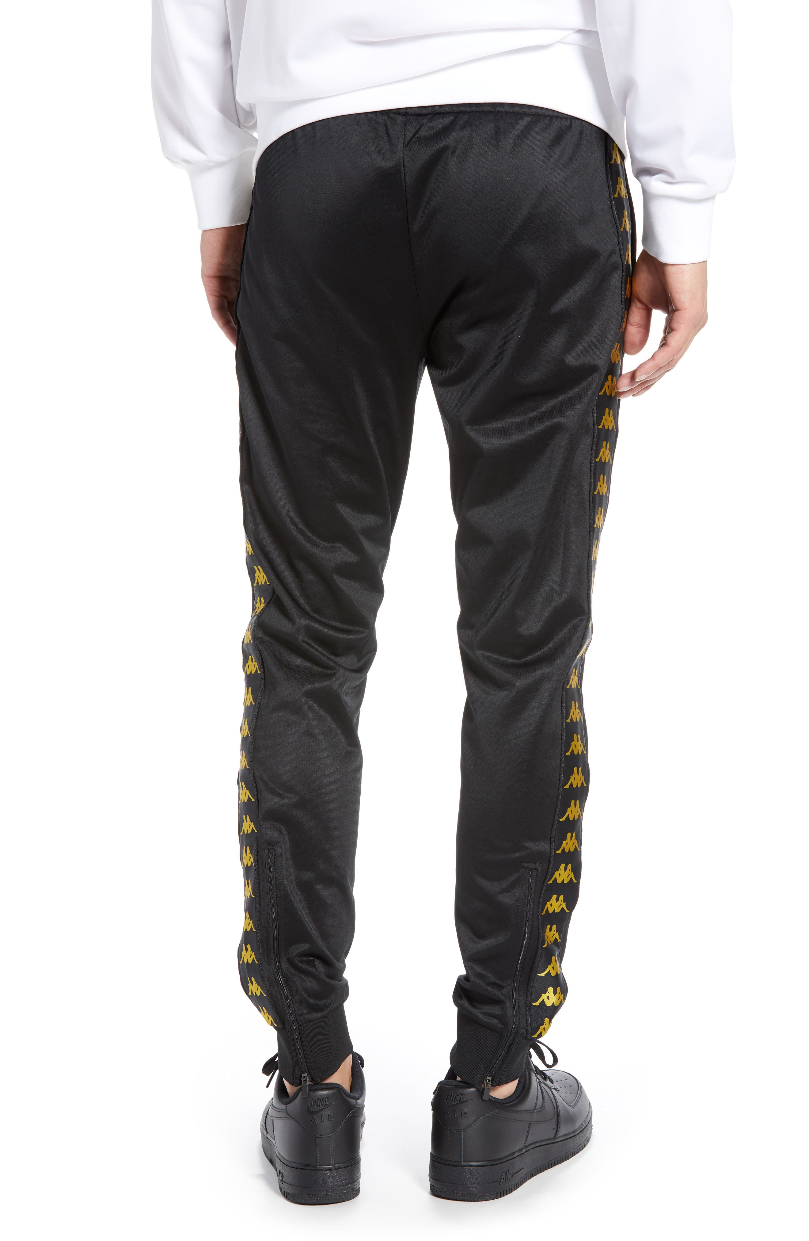 Active Banded Track Pants,                             Alternate thumbnail 2, color,                             BLACK/ GOLD