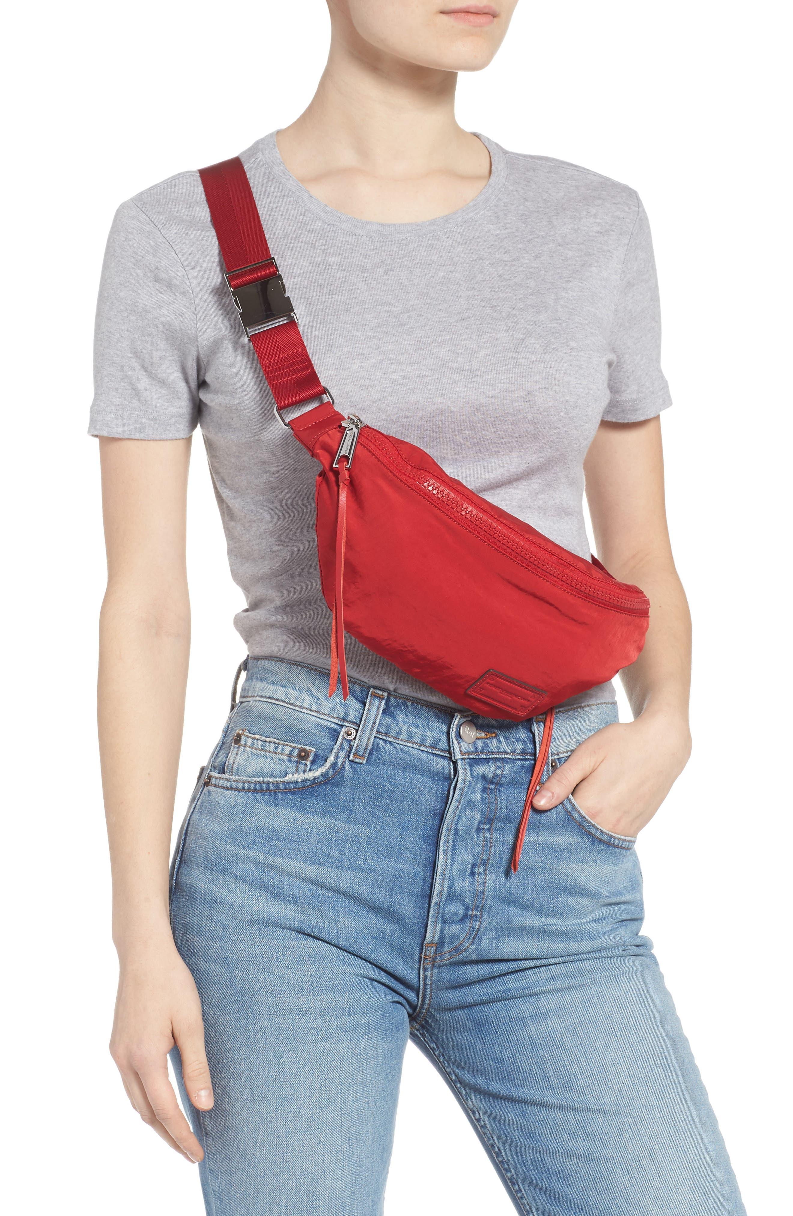 Nylon Belt Bag,                             Alternate thumbnail 3, color,                             SCARLET