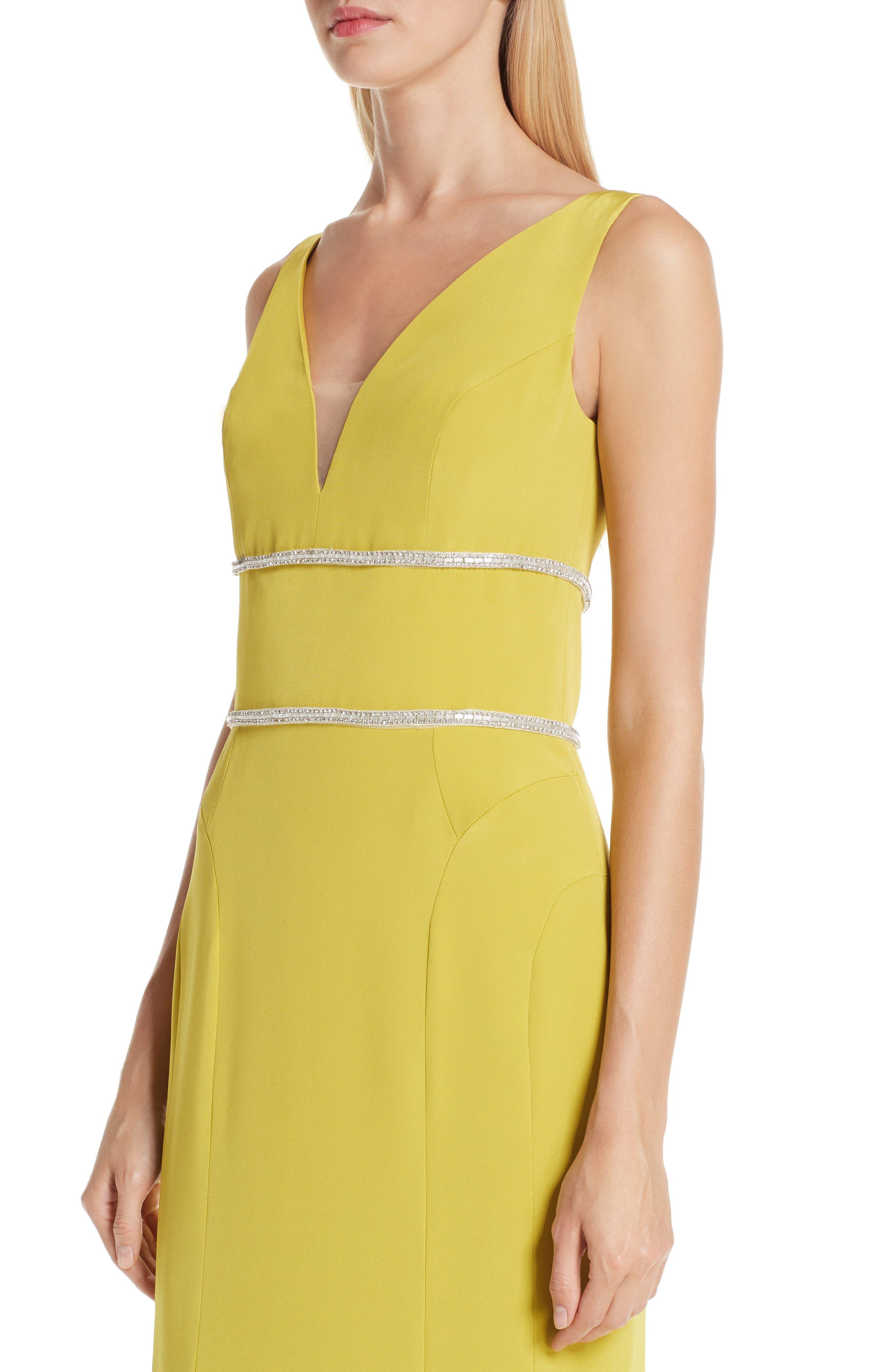 VERDIN,                             Embellished Silk V-Neck Evening Dress,                             Alternate thumbnail 4, color,                             CITRUS